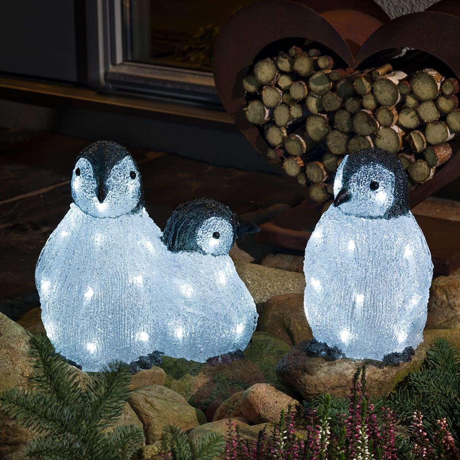 LED-akryyli-figuuri pingviiniperhe 3 kpl:n setti-5524872-01