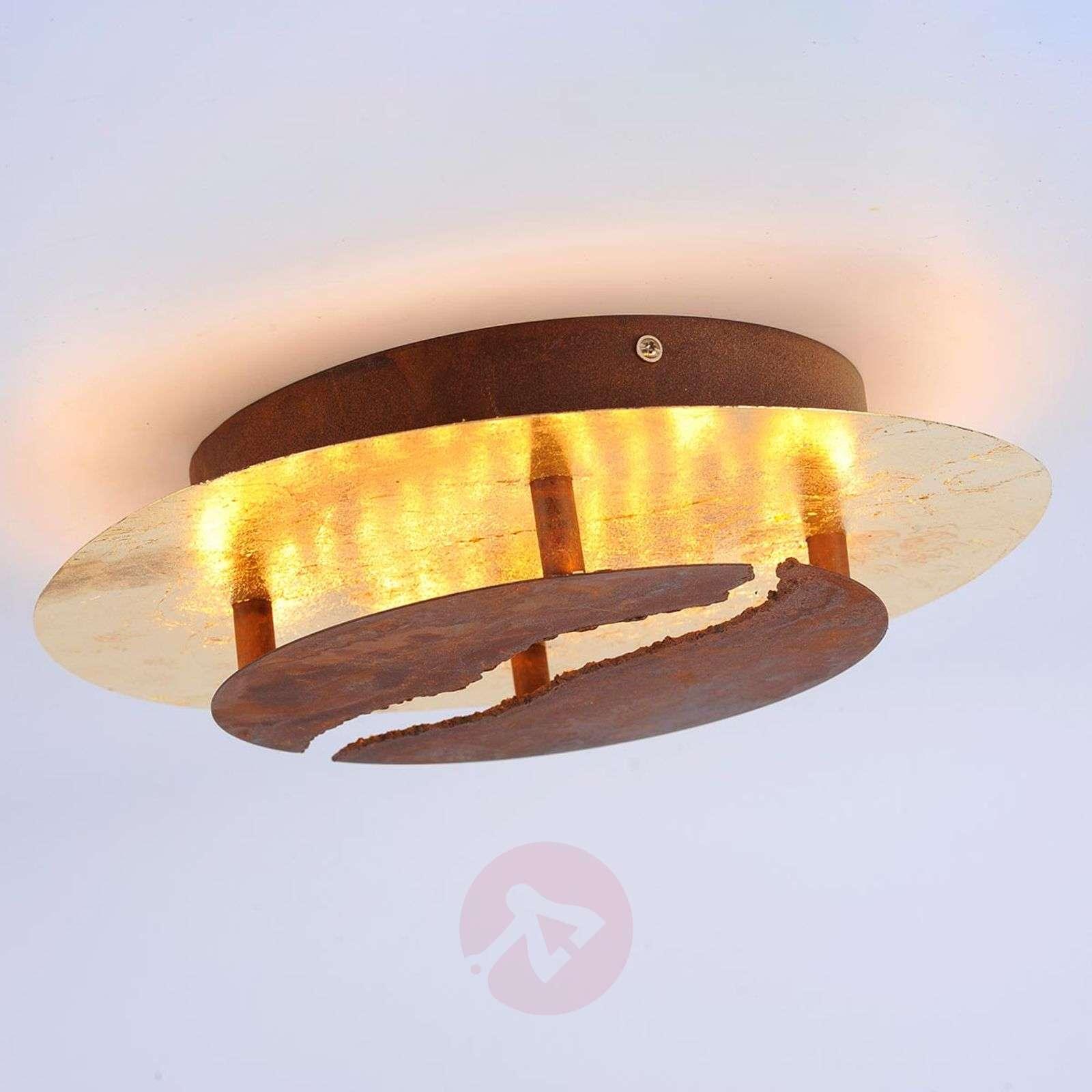 LED-kattolamppu Nevis, Ø 30 cm, ruskea, kulta-7610642-01