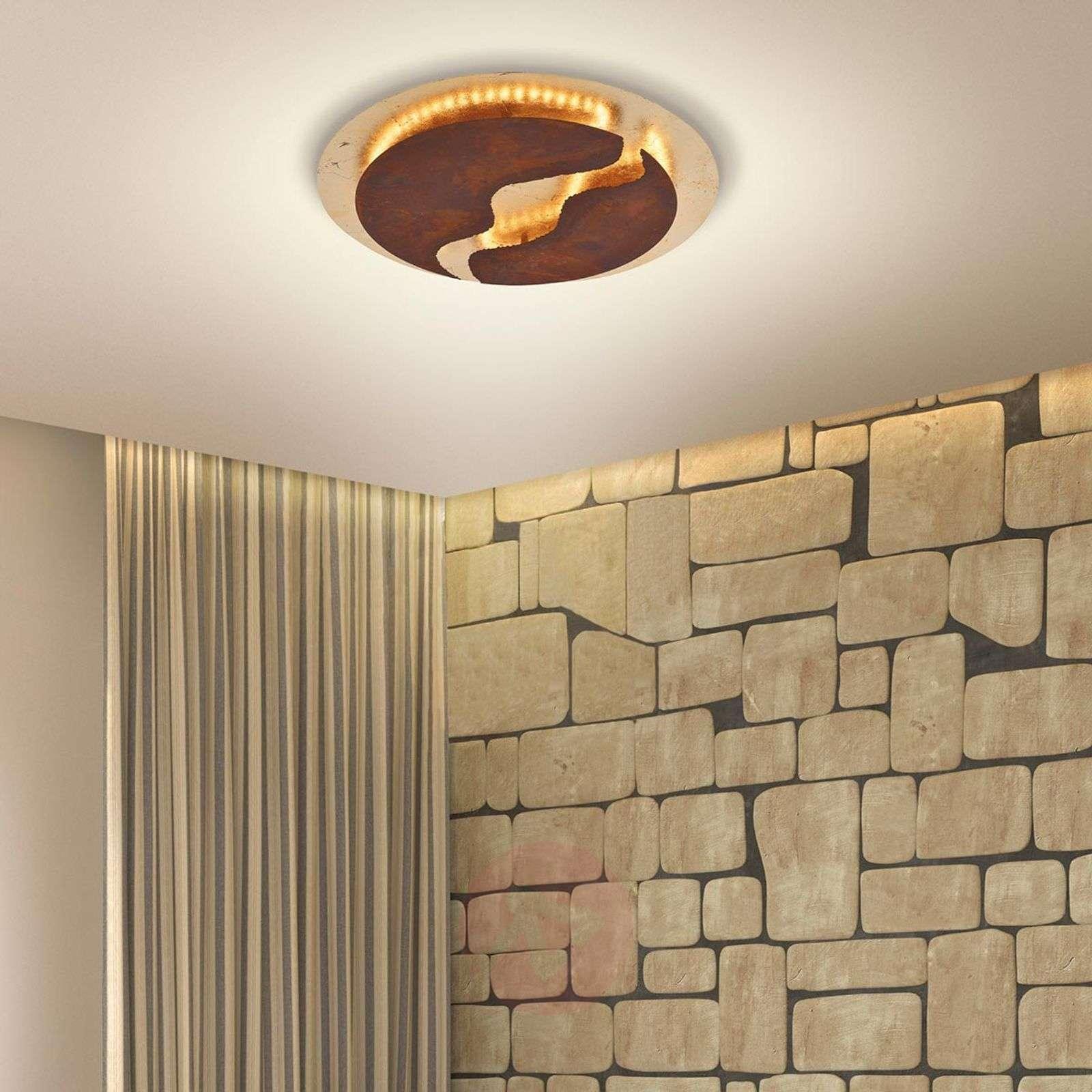 LED-kattolamppu Nevis, Ø 50 cm, ruskea, kulta-7610643-01