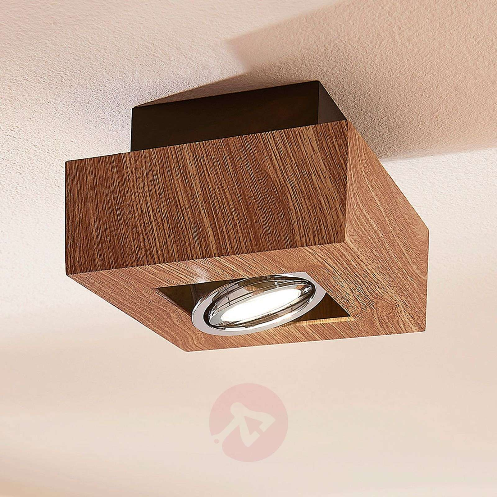 LED-kattolamppu Vince, 14 x 14 cm puuta-9621712-01