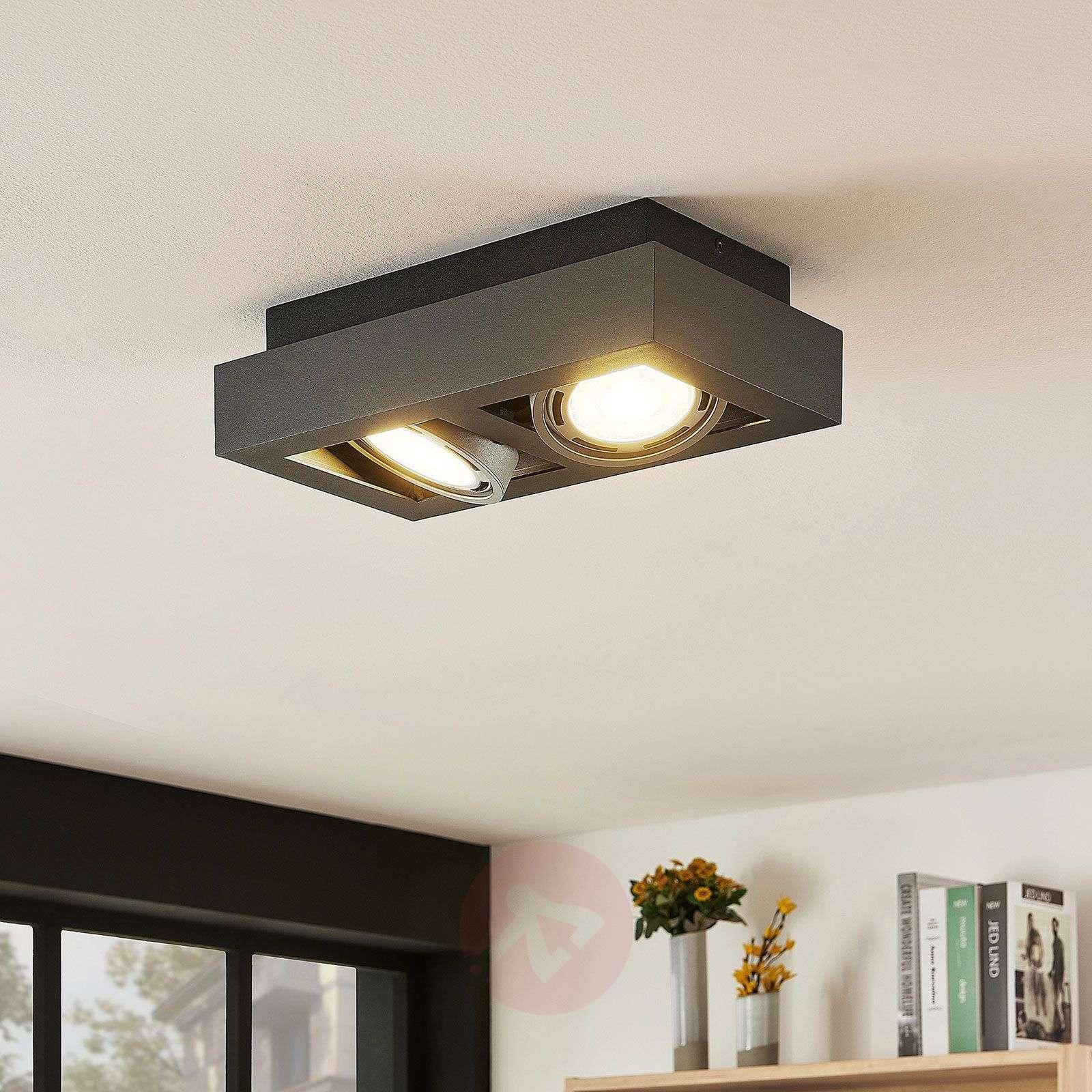 LED-kattospotti Ronka, GU10, 2-lampp., t.harmaa-9624449-01