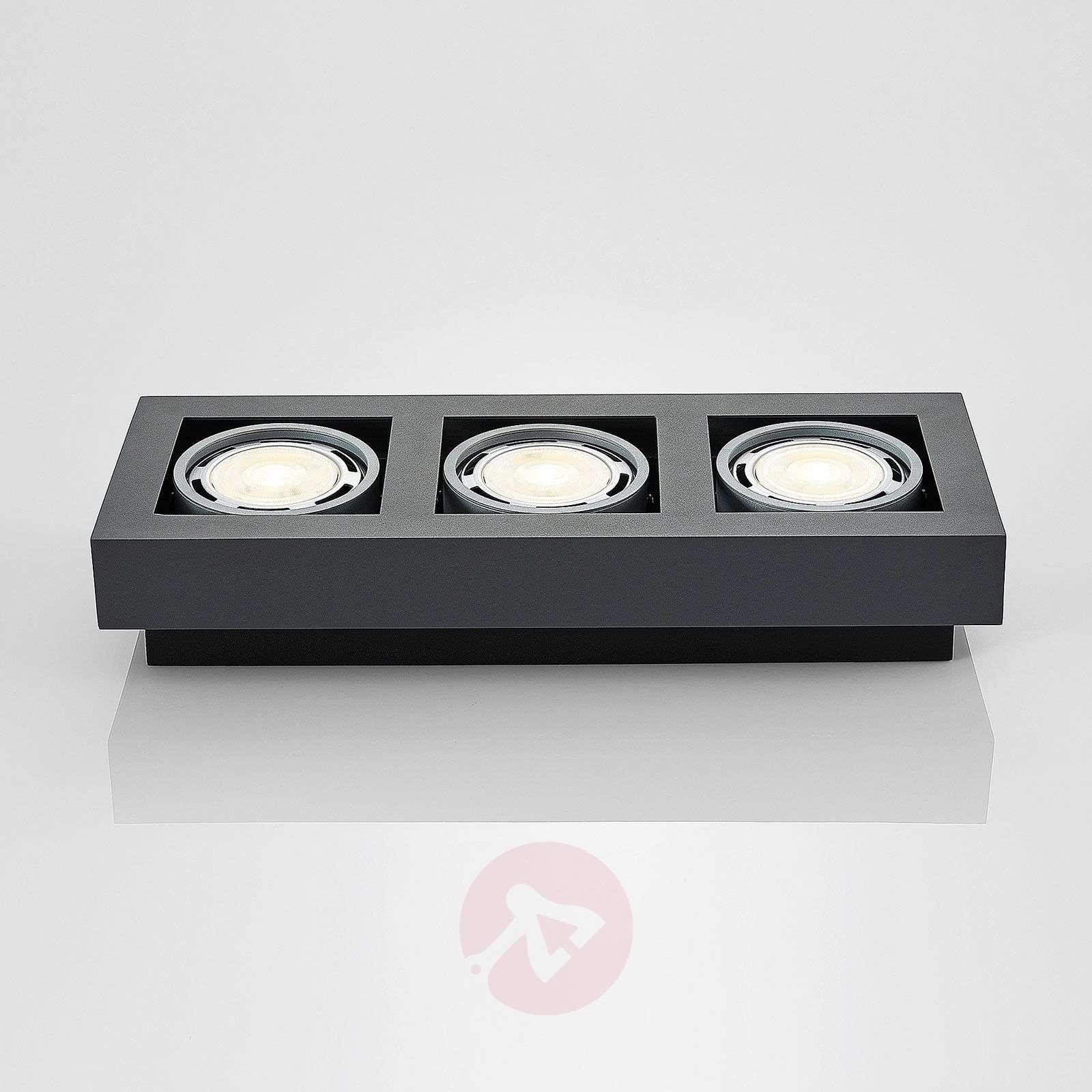 LED-kattospotti Ronka, GU10, 3-lampp., t.harmaa-9624451-01