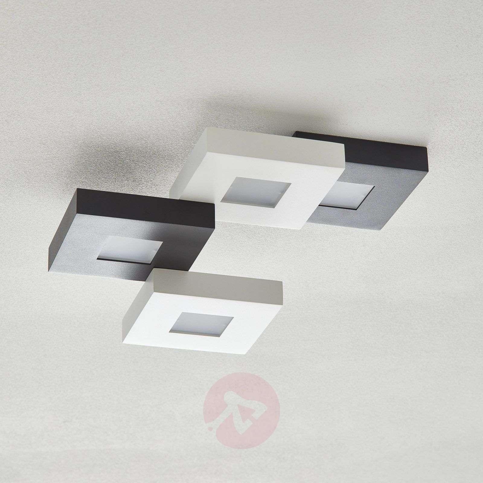 LED-kattovalaisin Cubus mustavalk. 4-lamppuinen