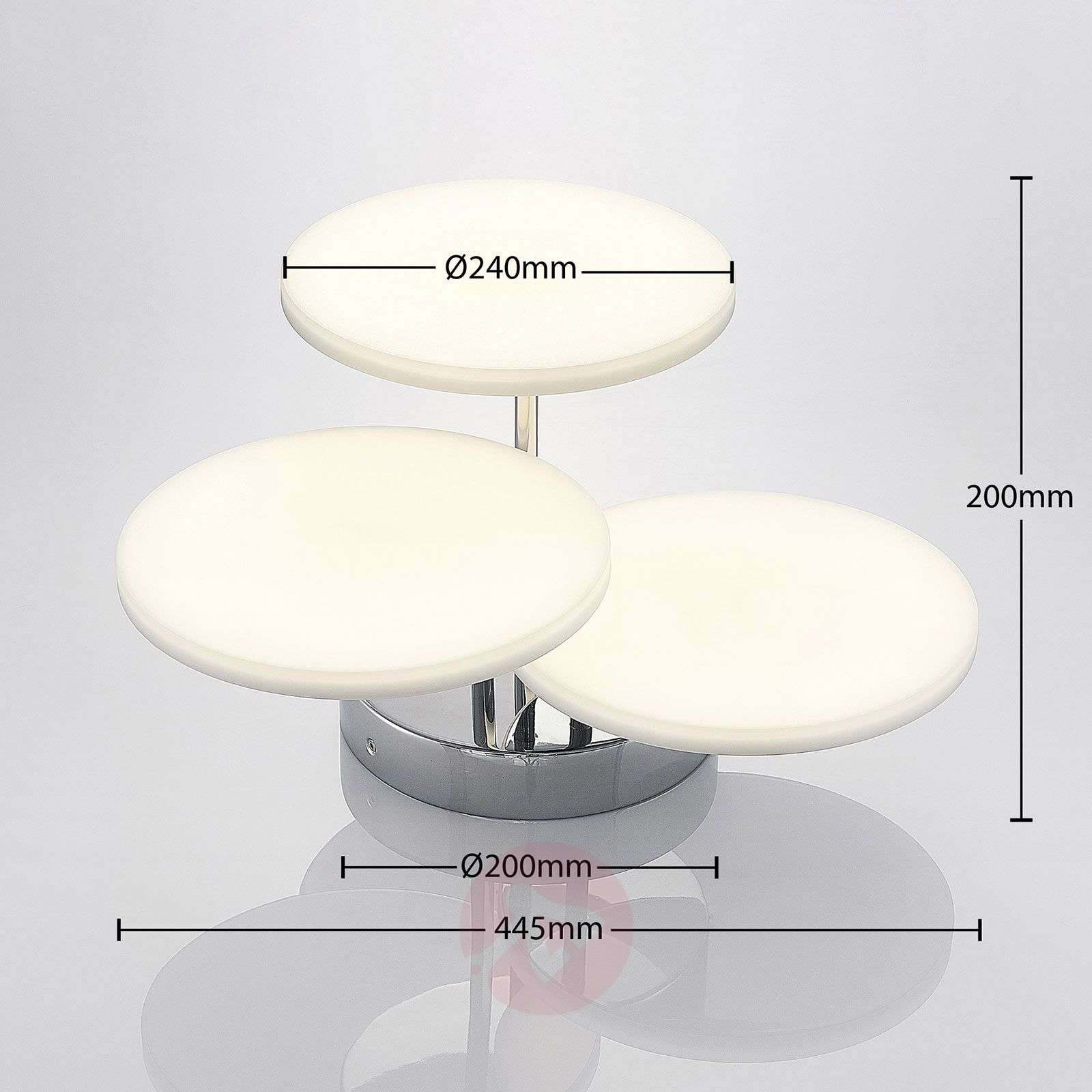 LED-kattovalaisin Sherko, himmennettävä, 3-lamp.