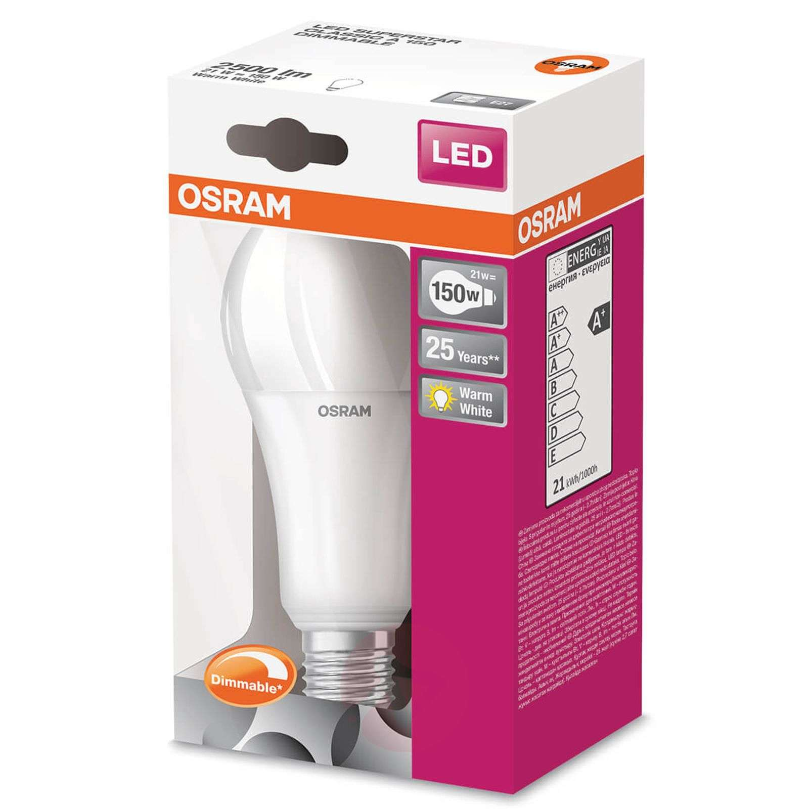 LED-lamppu E27 21 W, lämmin valkoinen, 2500 lm-7262046-01