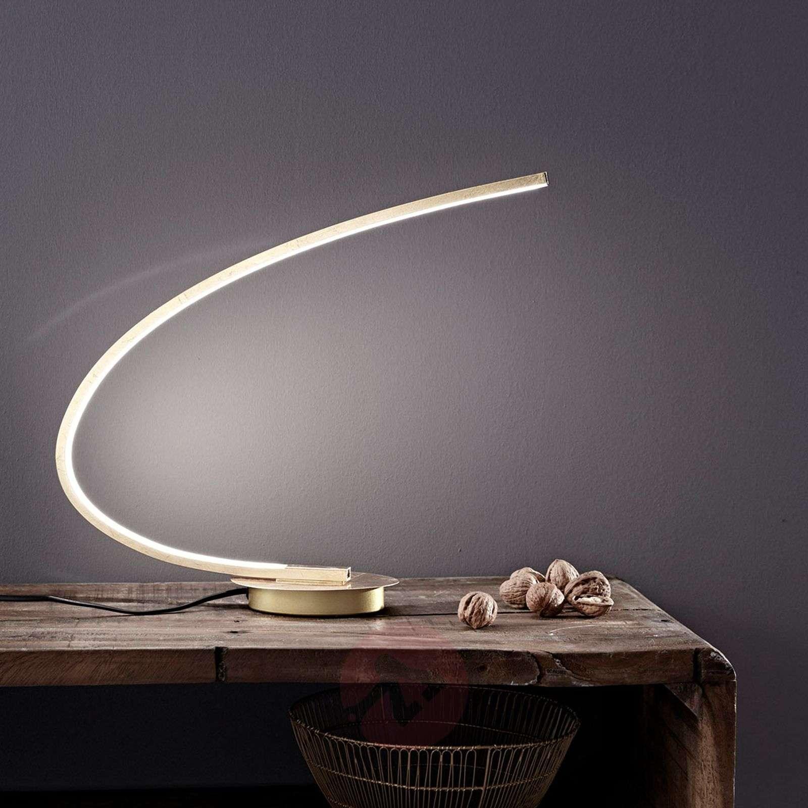 LED-pöytälamppu Nalevi, kaaren muoto, kulta-8032139-02