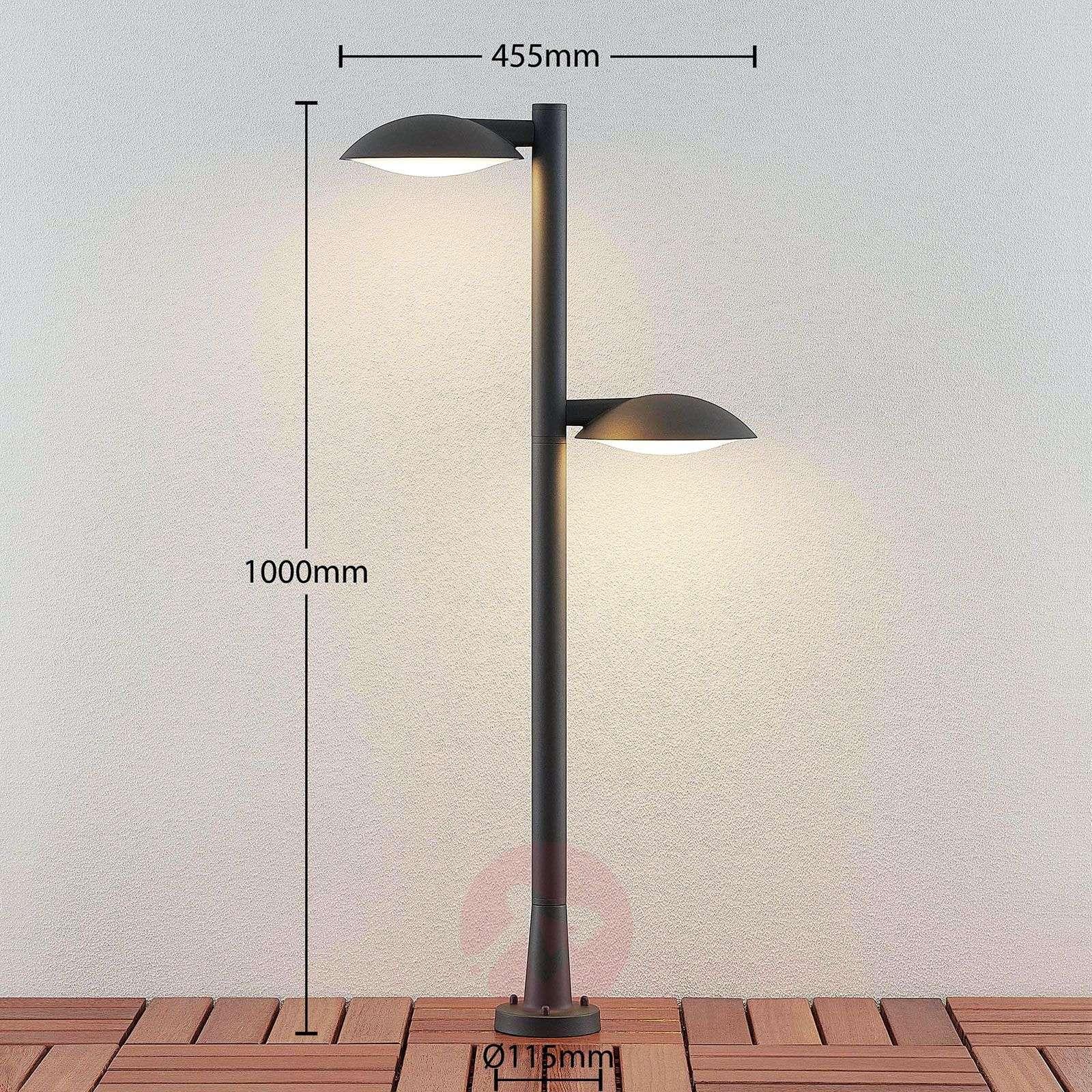 LED-pylväsvalo Maive tummanharmaa, 2-lamppuinen-9630078-02