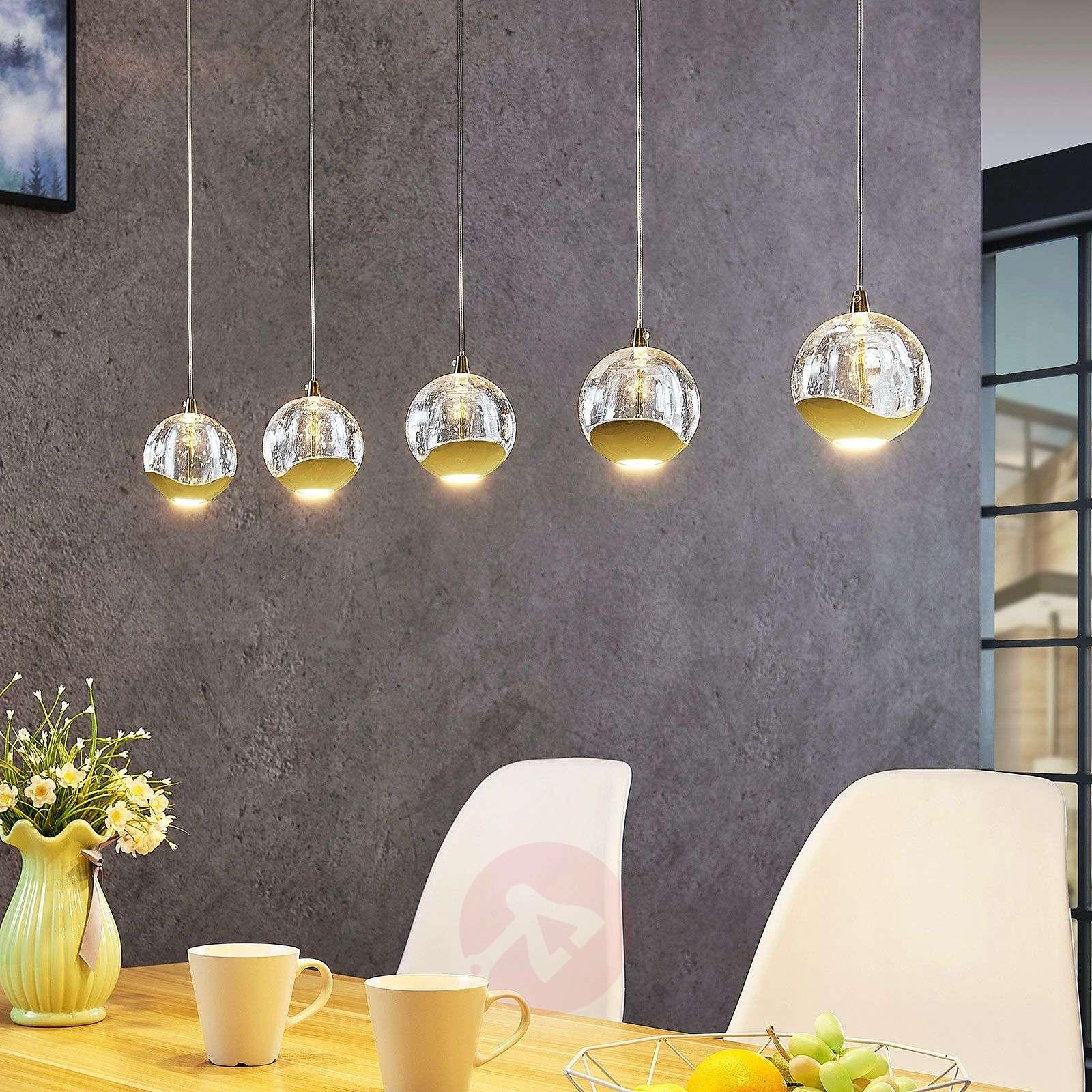 LED-riippuvalaisin Hayley 5-l. pitkänomainen kulta-9624458-01