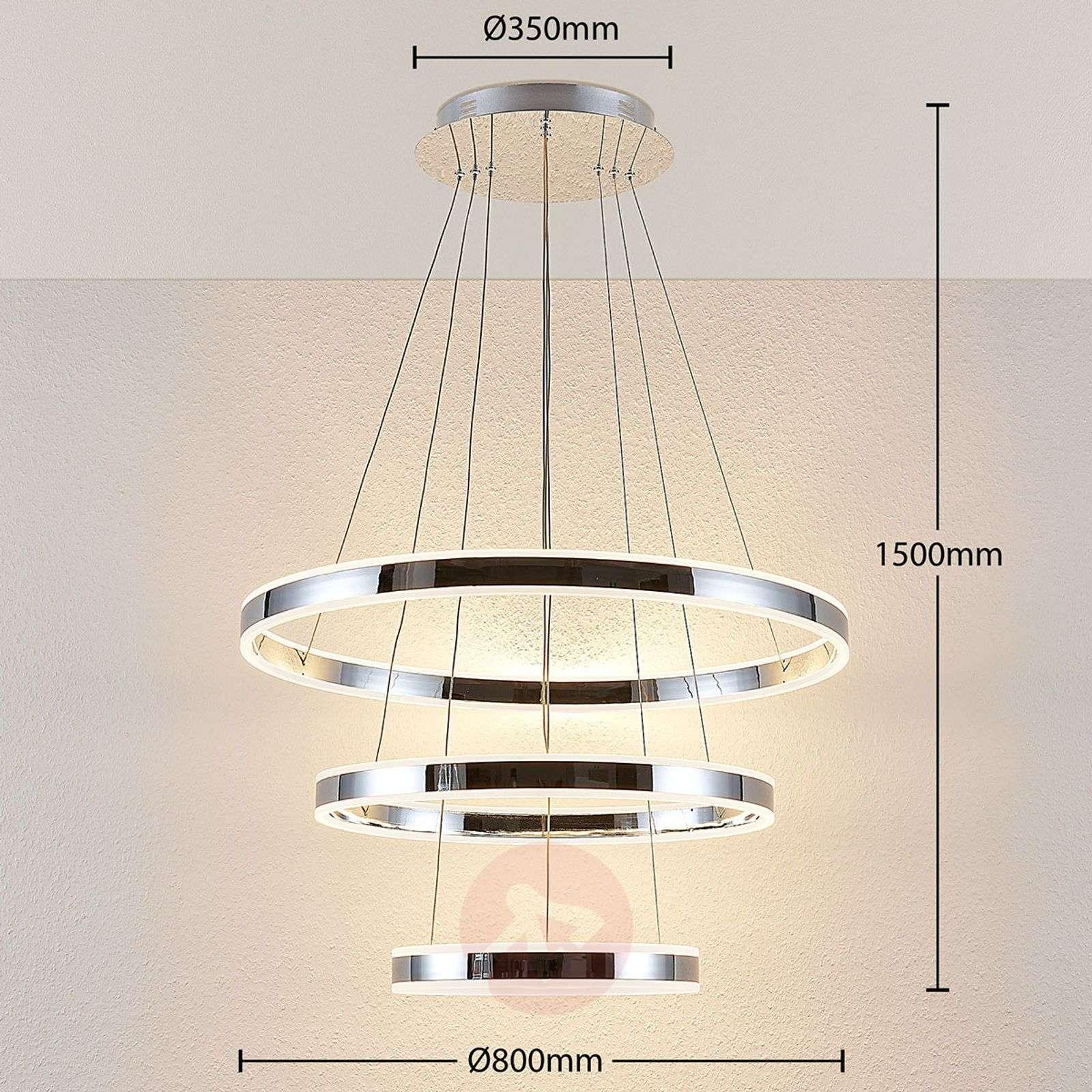 LED-riippuvalaisin Lyani, 3 rengasta allekkain-9621979-02