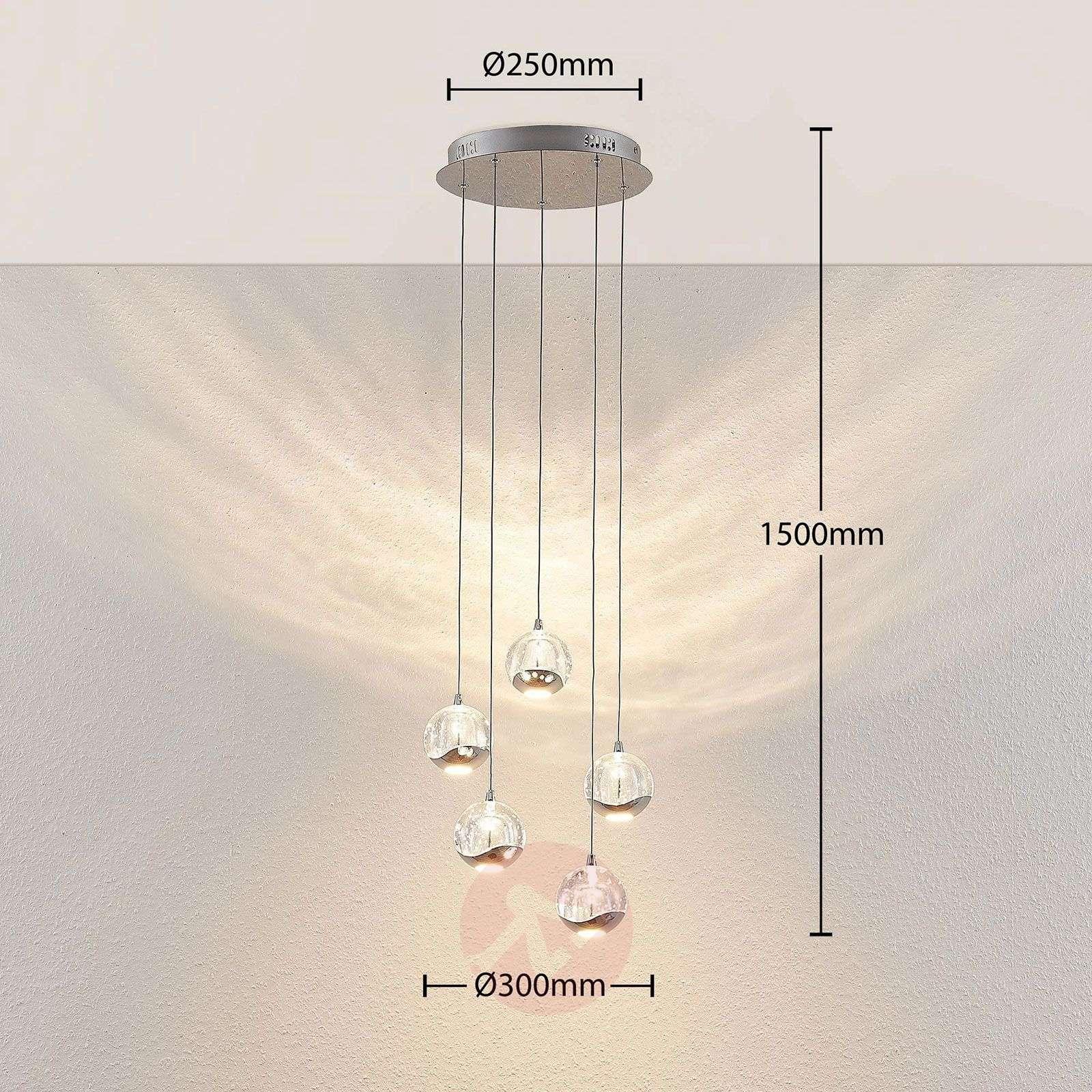 LED-riippuvalo Hayley 5-lampp. pyöreä kromi-9624369-02