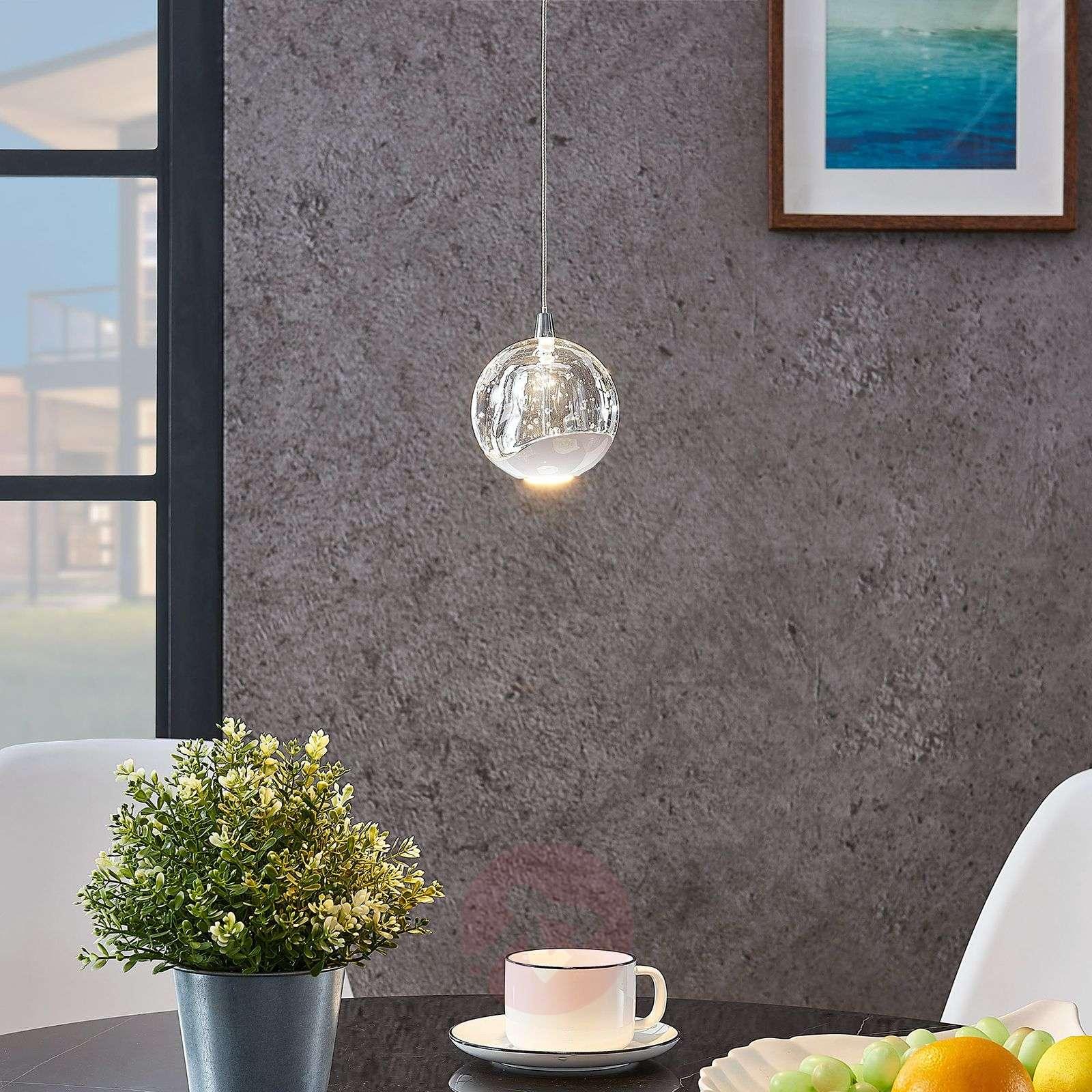 LED-riippuvalo Hayley lasipallo 1-lampp. kromi-9624365-01