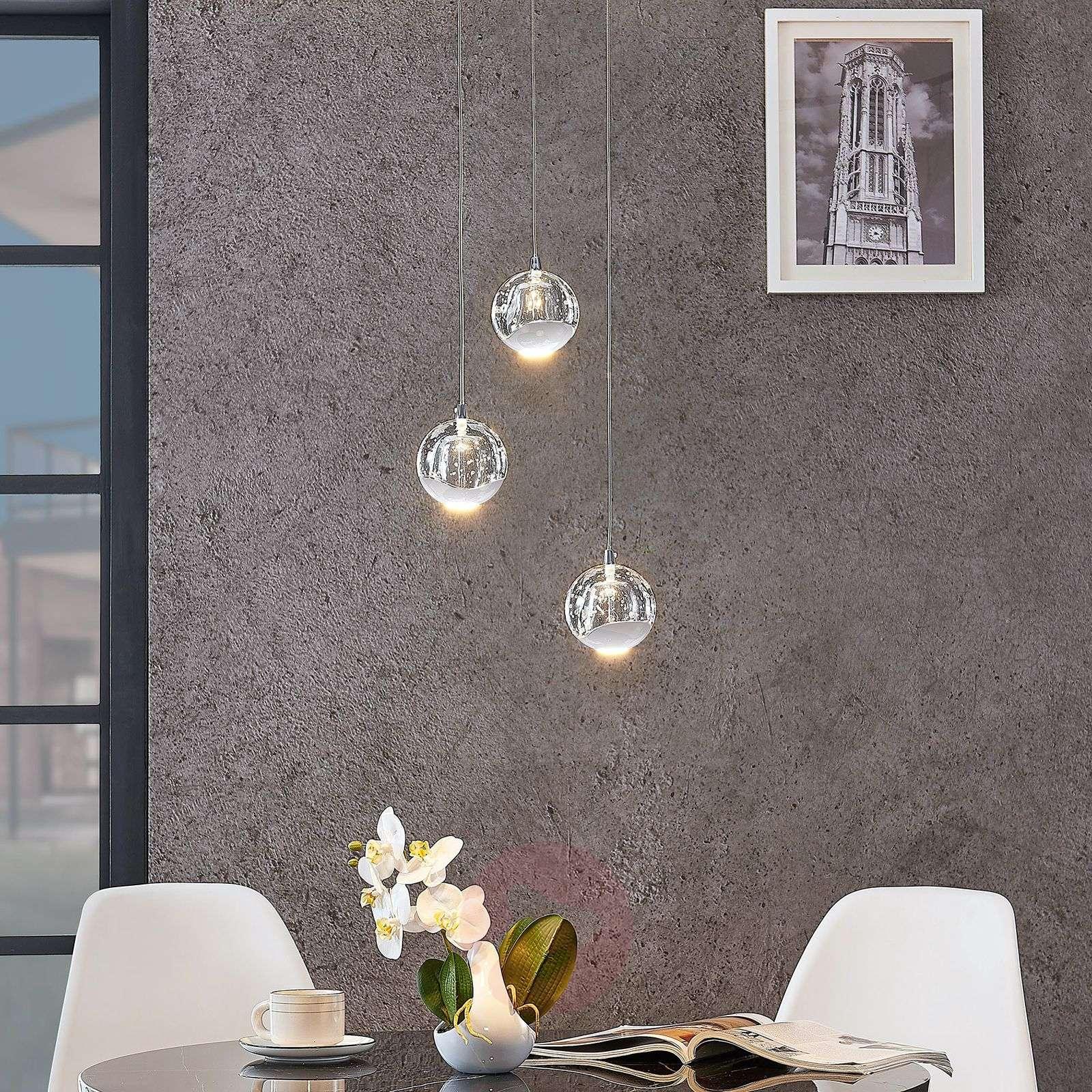 LED-riippuvalo Hayley lasipallot 3-lampp. kromi-9624367-01