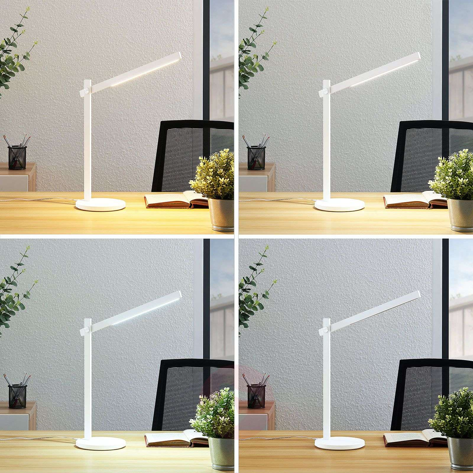 LED-työpöytälamppu Loretta, suoralinjainen, valk.-9643075-02
