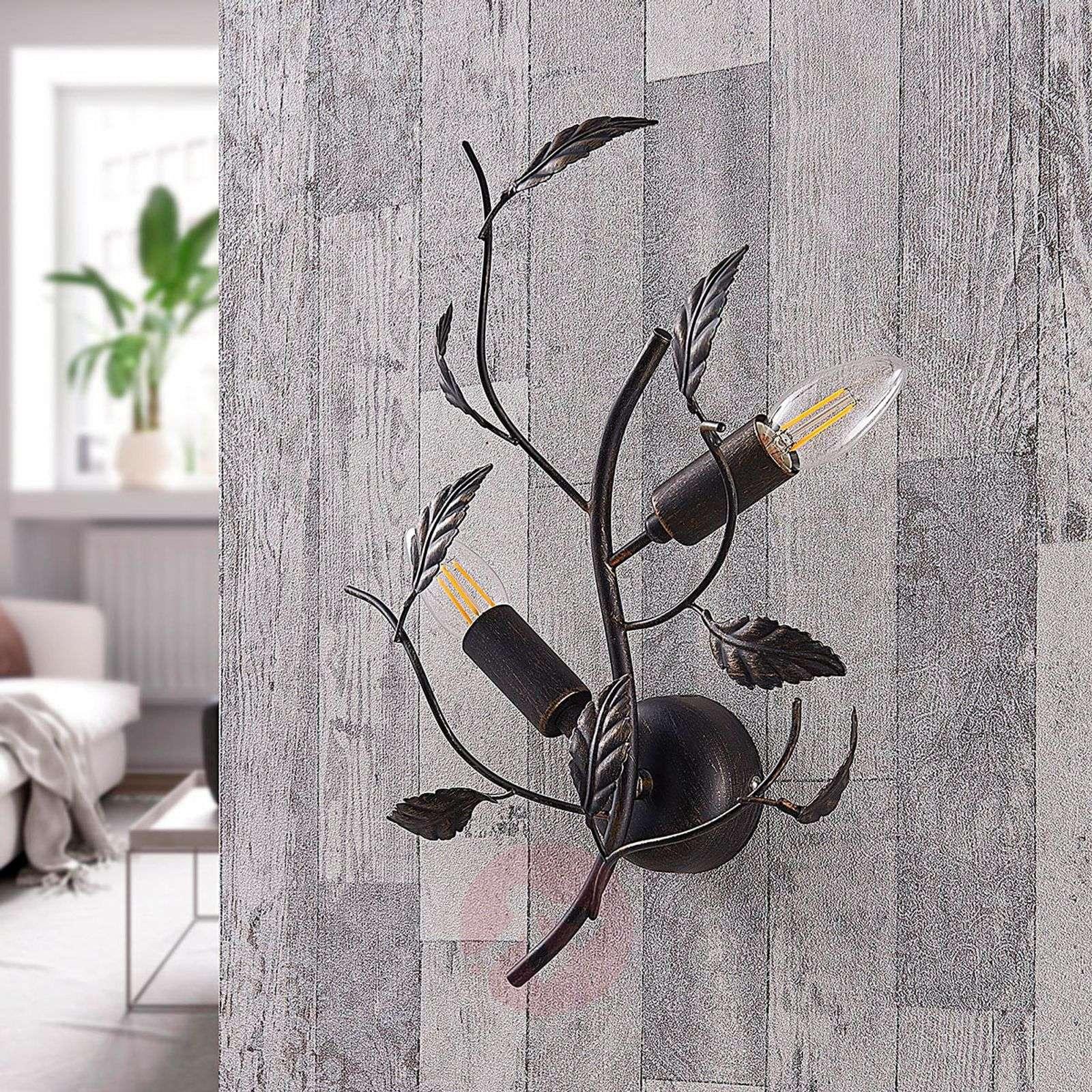 Lehtikoristeltu seinävalaisin Yos, metallia-9621744-01
