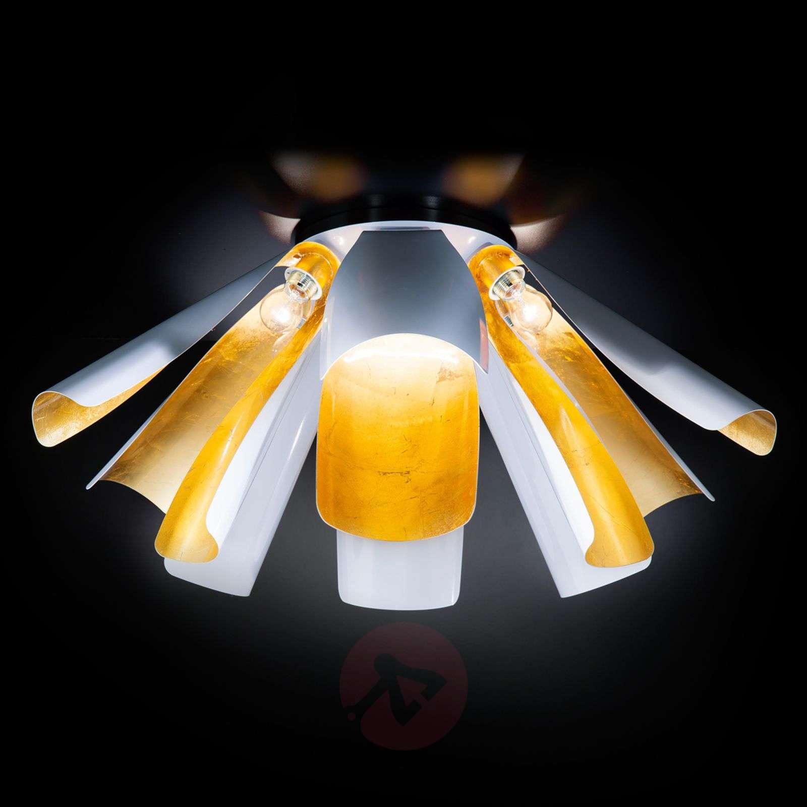 Lehtikultainen design-kattovalaisin Tropic 100cm-6511157-01