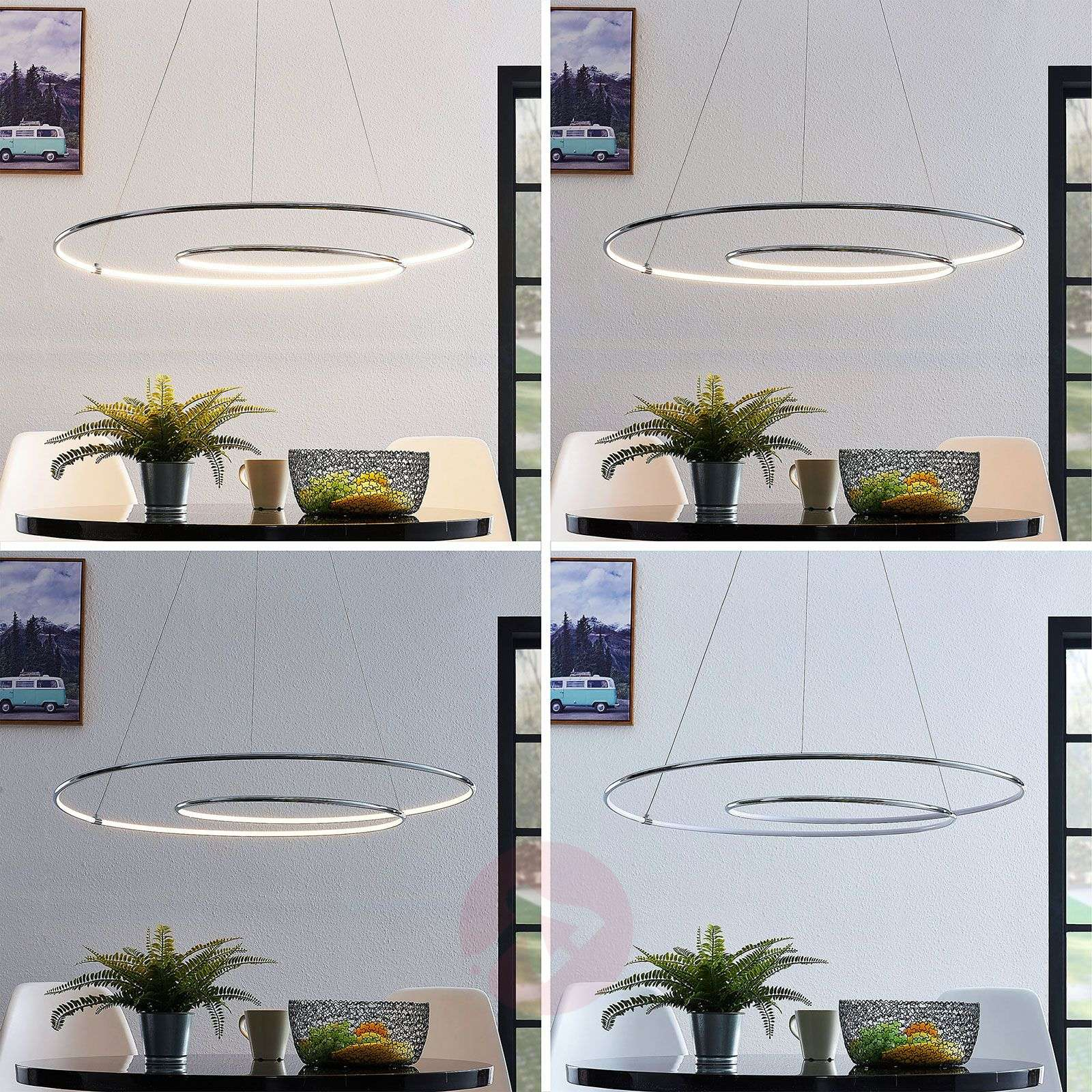Lindby Lucy LED-riippuvalaisin, 90 cm, kromi