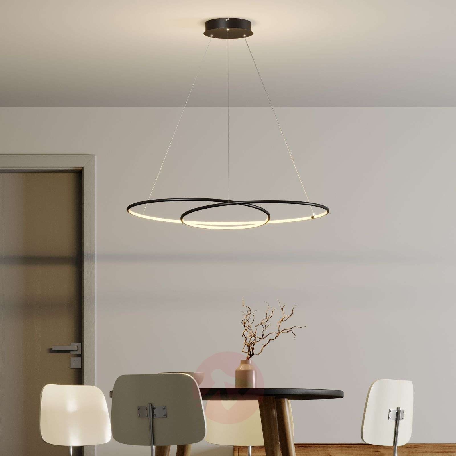 Lindby Lucy LED-riippuvalaisin, 90 cm, matta musta-9639146-02