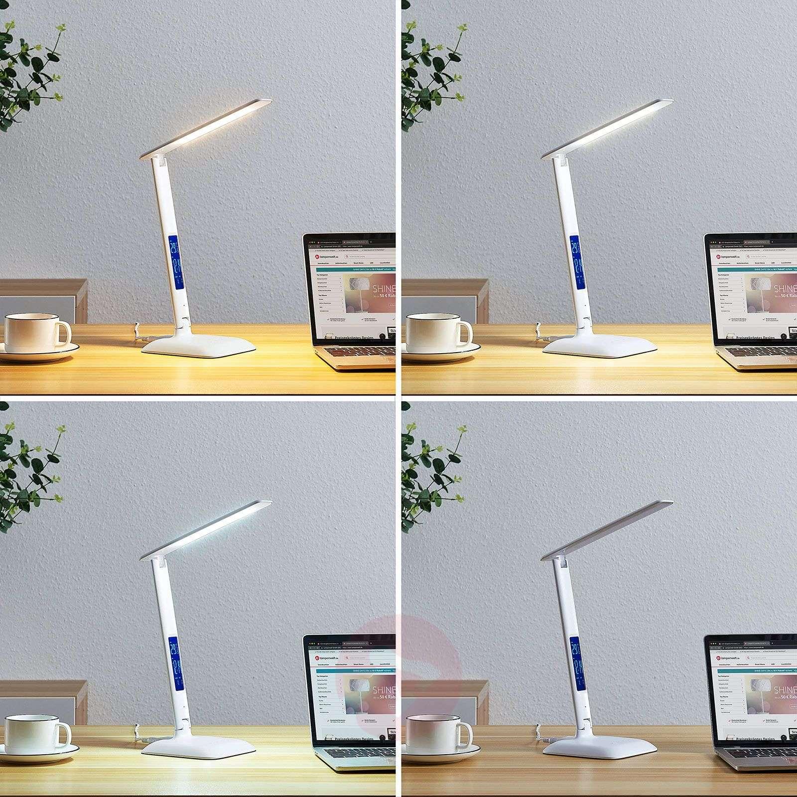 Lindby Ludmilla LED-pöytälamppu, näyttö, valkoinen-9643077-02
