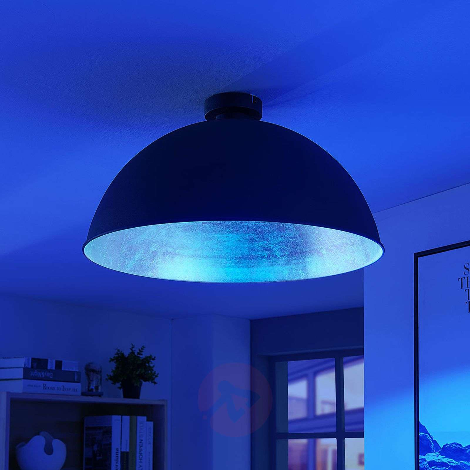 Lindby Smart LED-kattovalaisin Bowl 51 cm musta-9624243-02