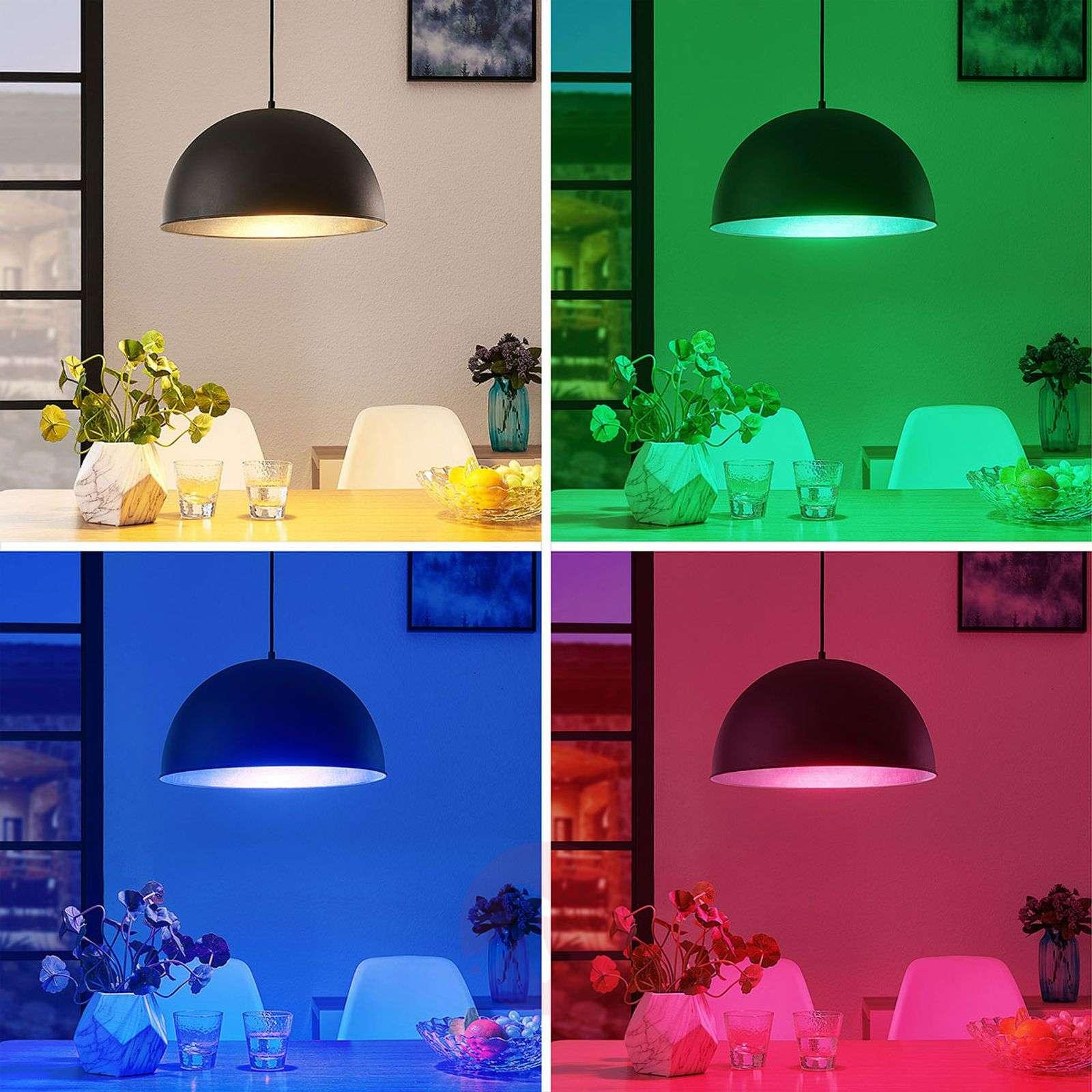 Lindby Smart LED-riippuvalaisin Bowl 41 cm musta-9624247-02