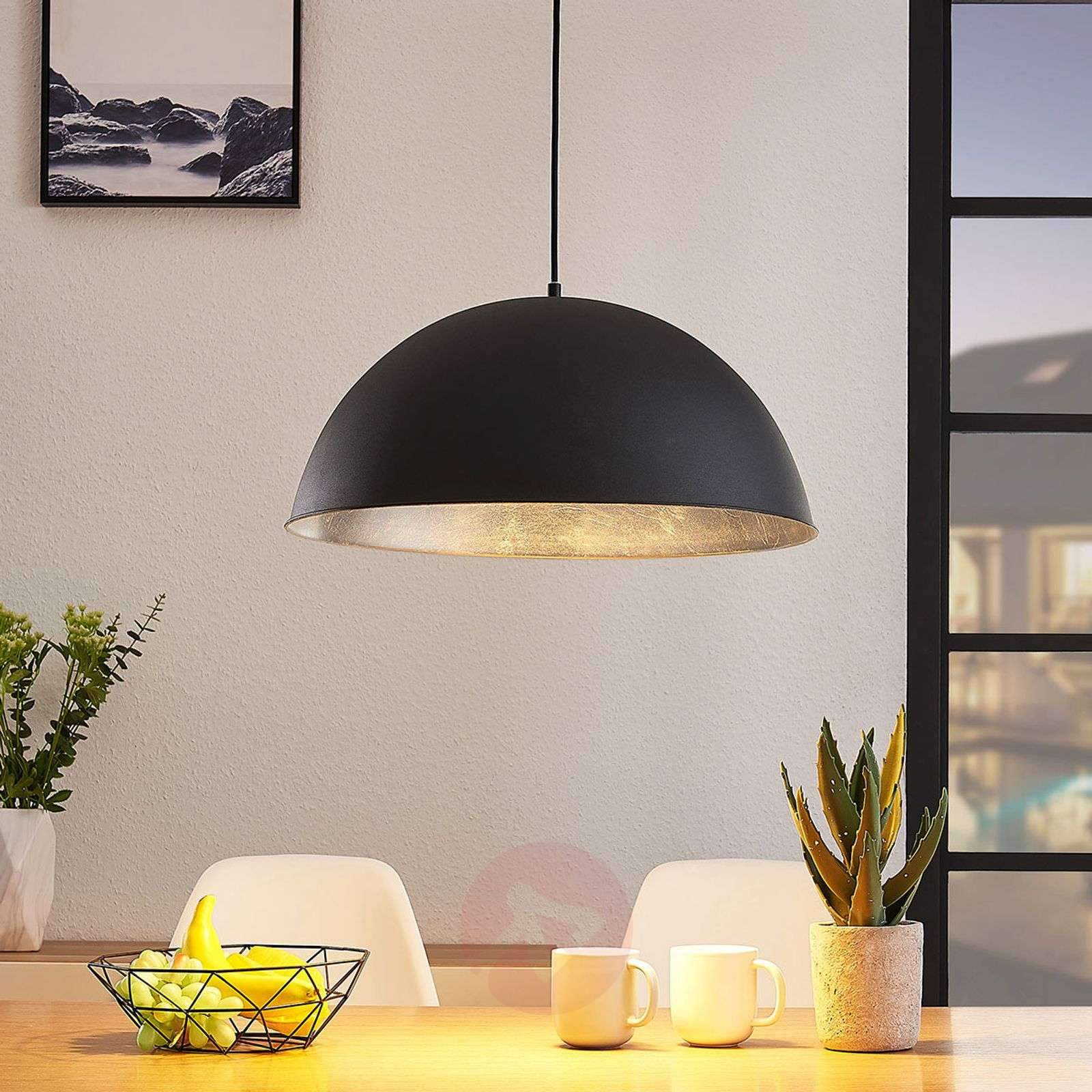 Lindby Smart LED-riippuvalaisin Bowl 51 cm musta-9624249-02