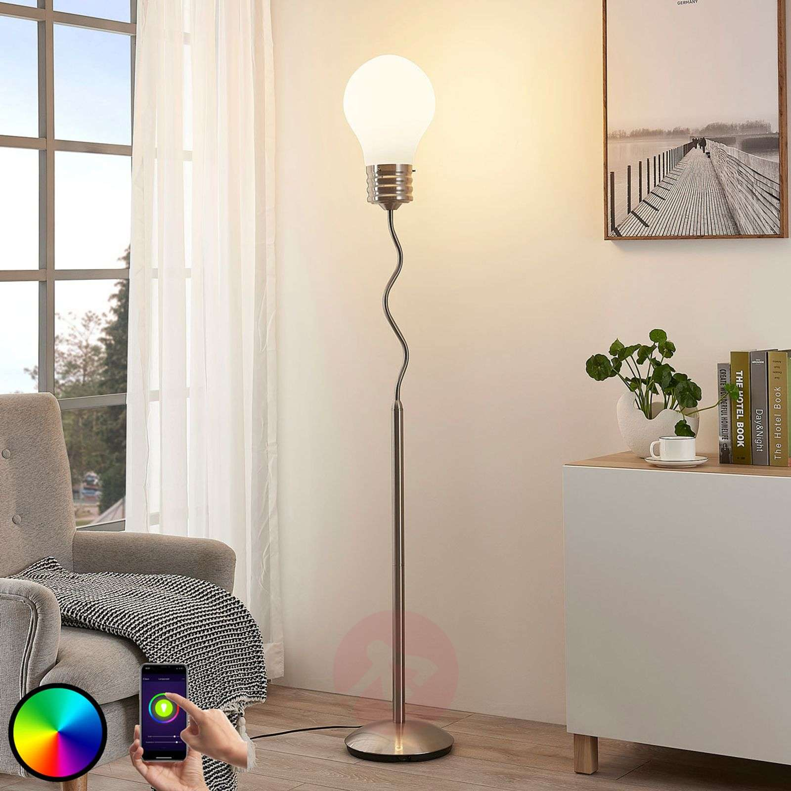 Lindby Smart RGB-LED-lattiavalaisin Mena-9624109-02