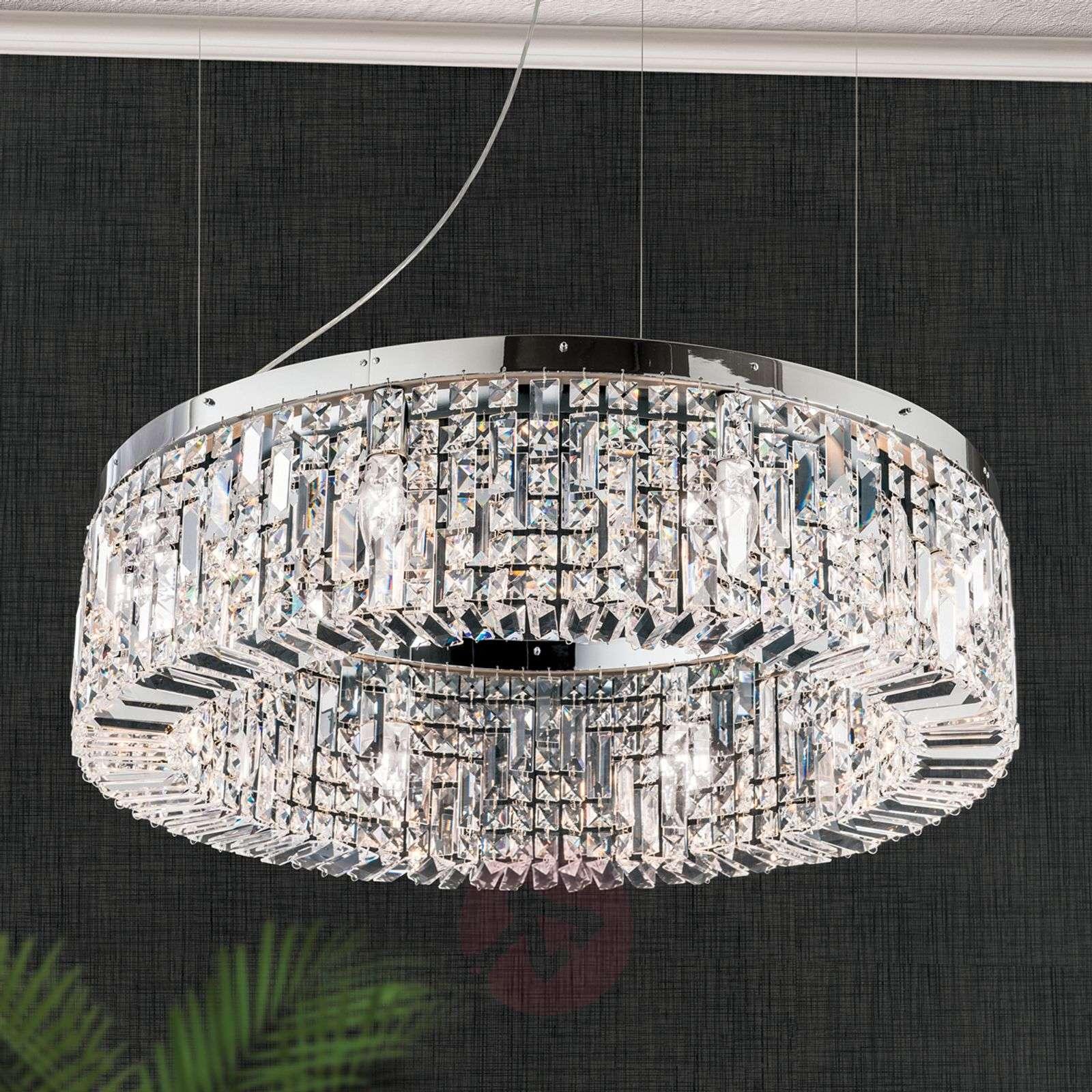 Loistava kristalliriippuvalaisin Ring, 80cm kromi-7254973-01