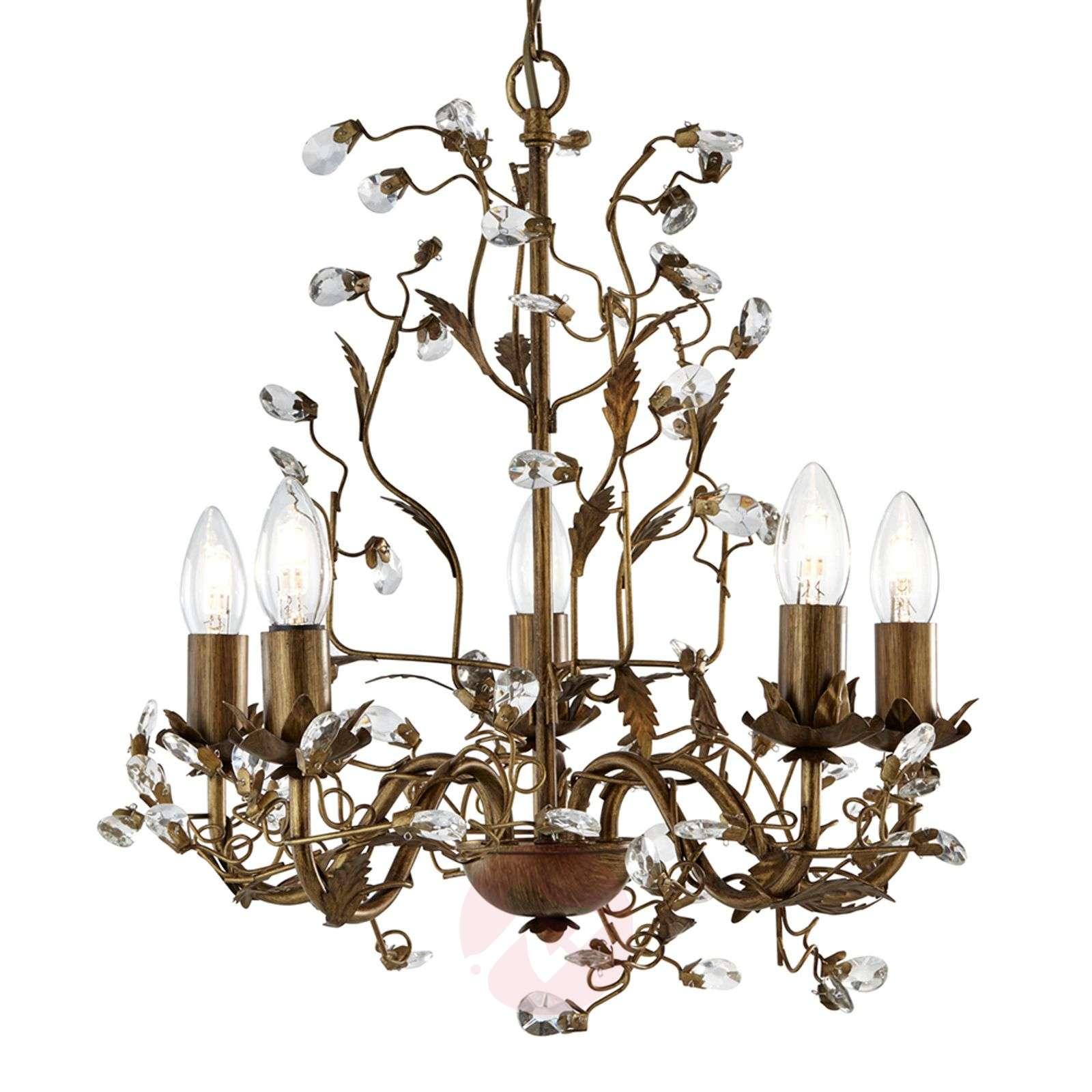 Lumoavan kaunis 5-lamppuinen Almandite-kattokruunu-8570901-01