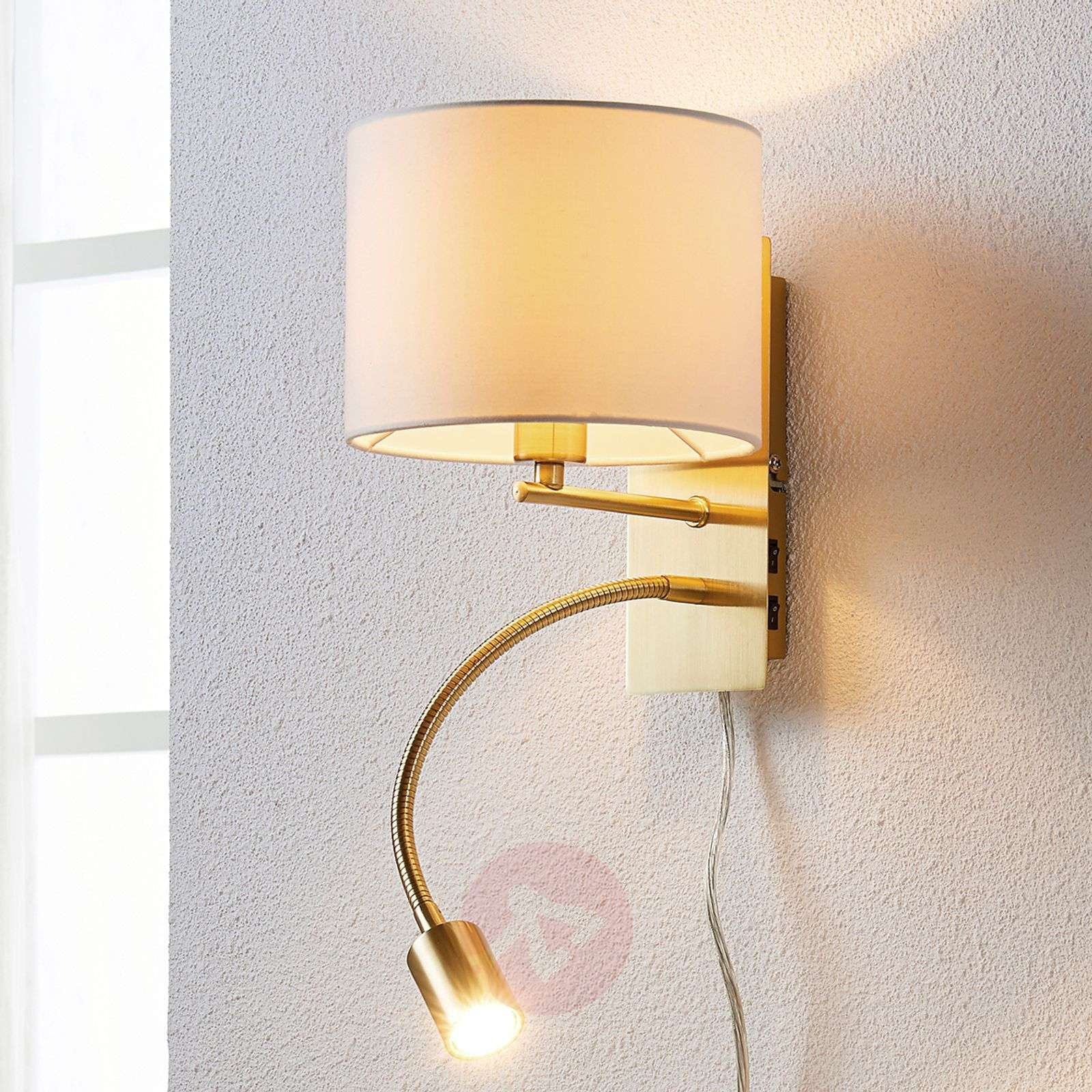 Messinginvär. seinävalaisin Florens, LED-lukuvalo-9620923-03