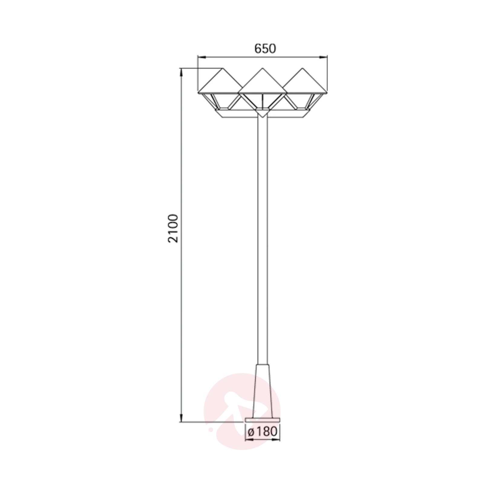 Moderni lyhtypylväs 181, musta, 3-lamppuinen-4001181-01