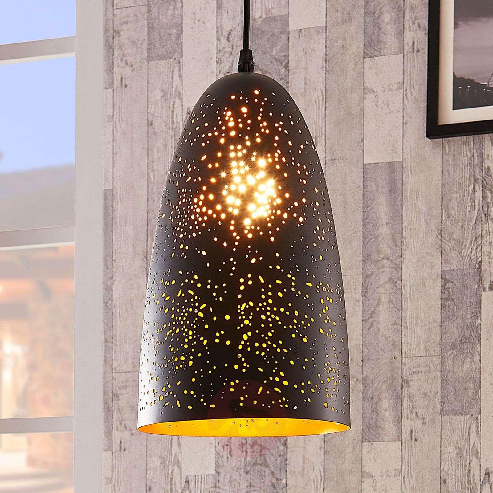 Musta ja kultainen riippuvalaisin Tola, metallia-9621747-01
