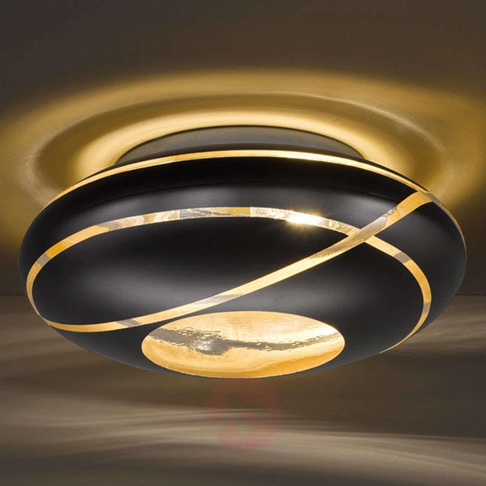 Musta kulta kattolamppu Farona lasista-9005465-01