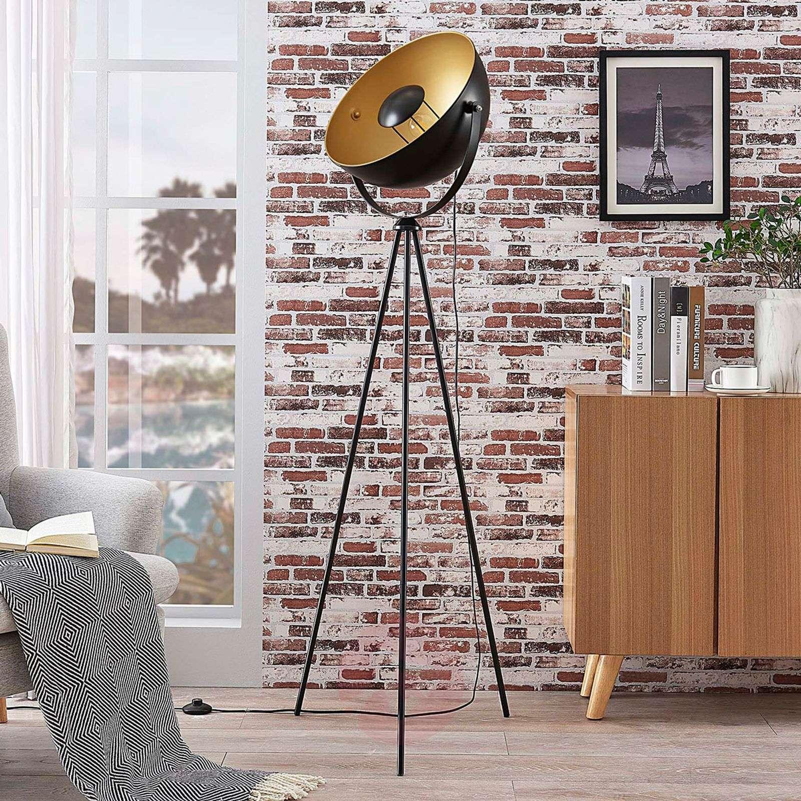 Musta kultainen 3-jalkainen lattiavalaisin Meline-9624020-02