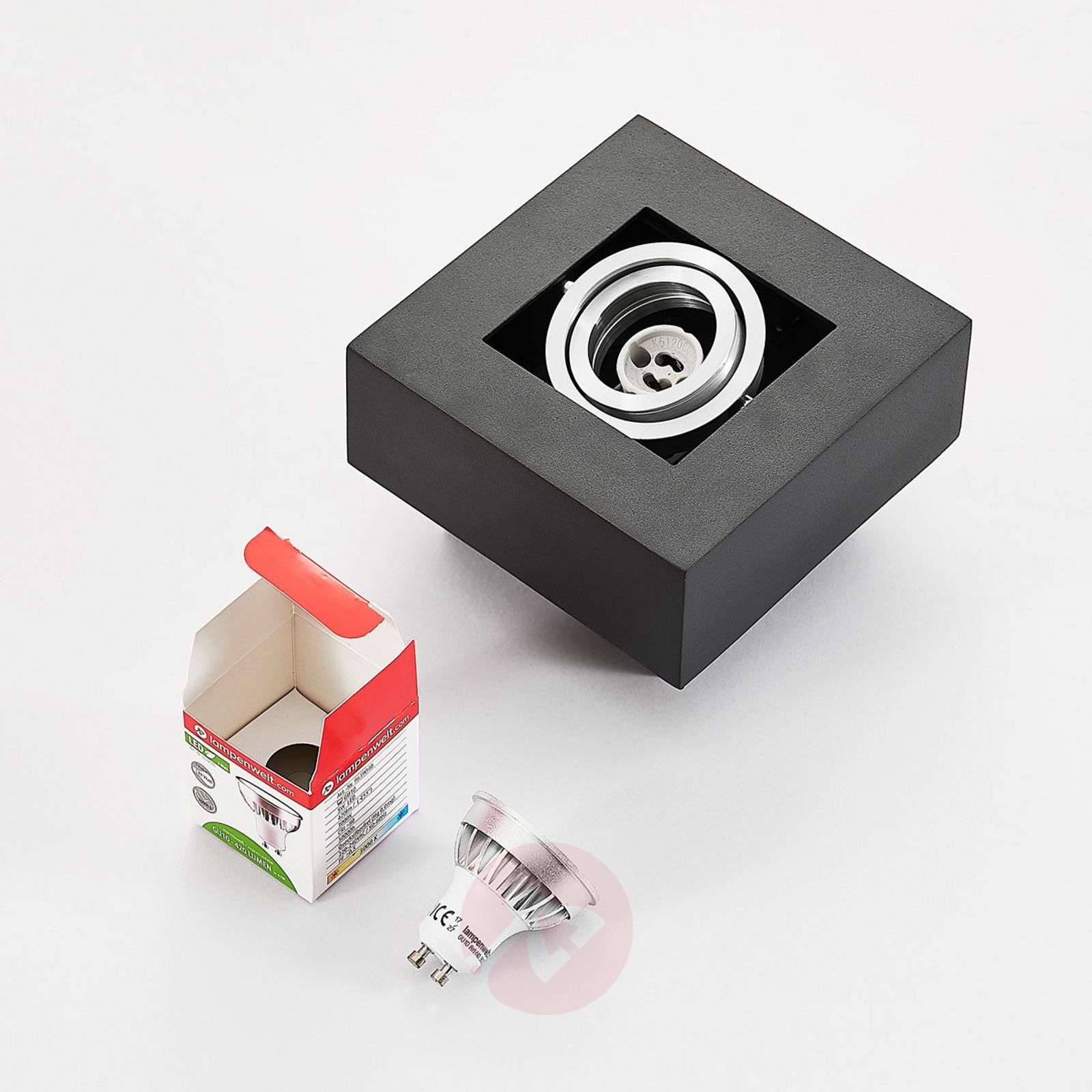 Musta LED-kattolamppu Vince, säädettävä osa-9621706-01