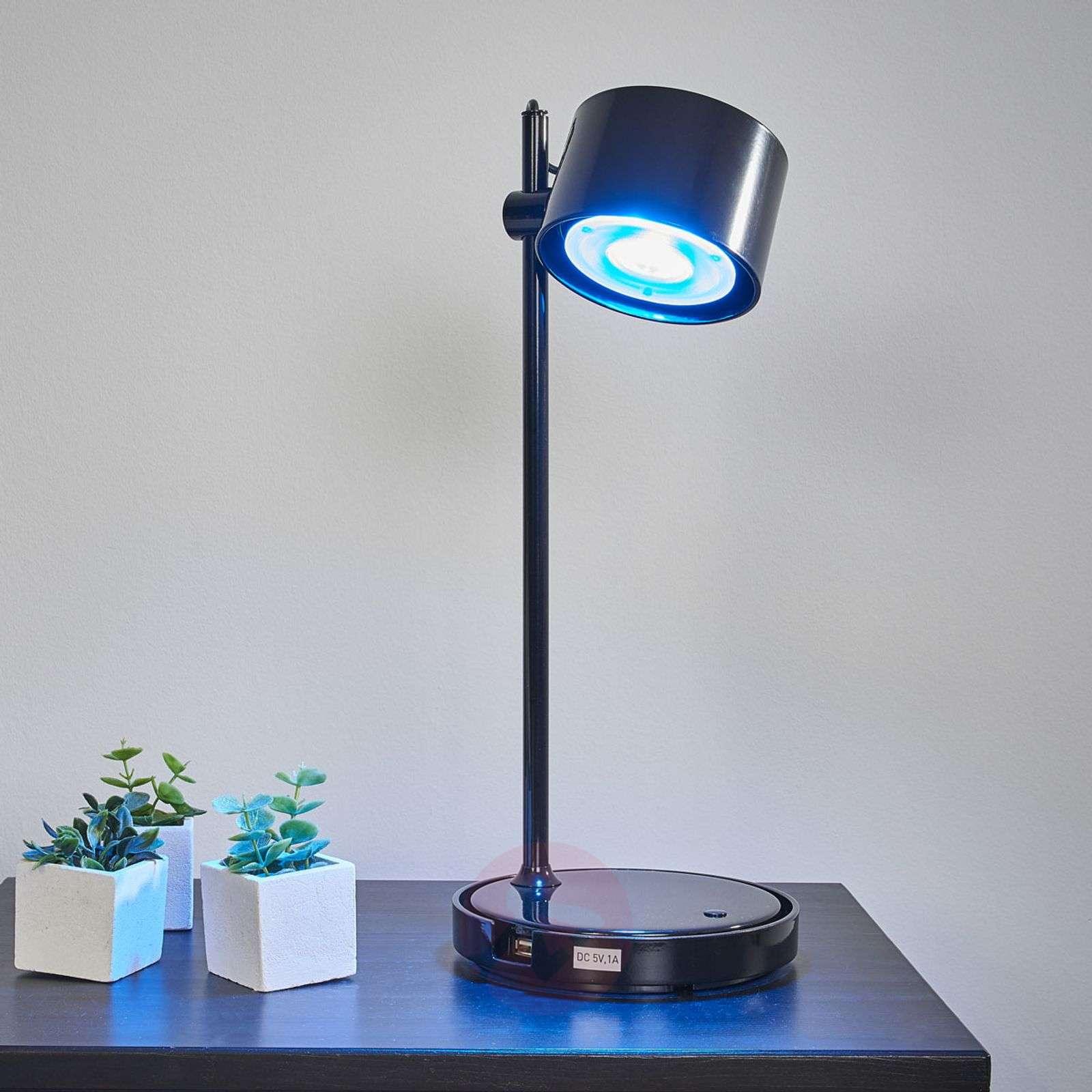 Musta LED-pöytälamppu Jasmine iDual kaukosäädöllä-9038034-01