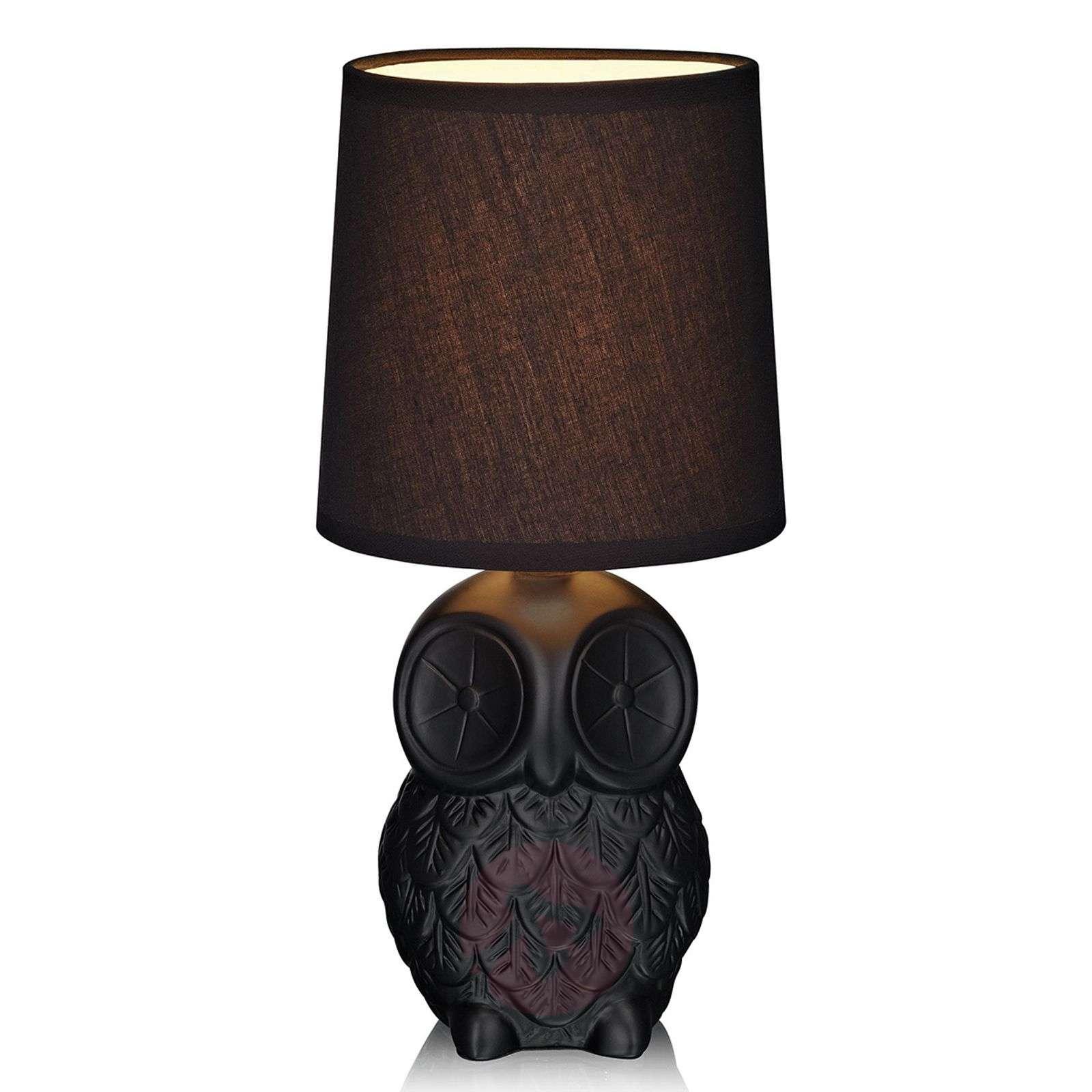 Musta, pöllönmuotoinen pöytävalaisin Helge-6506125-01