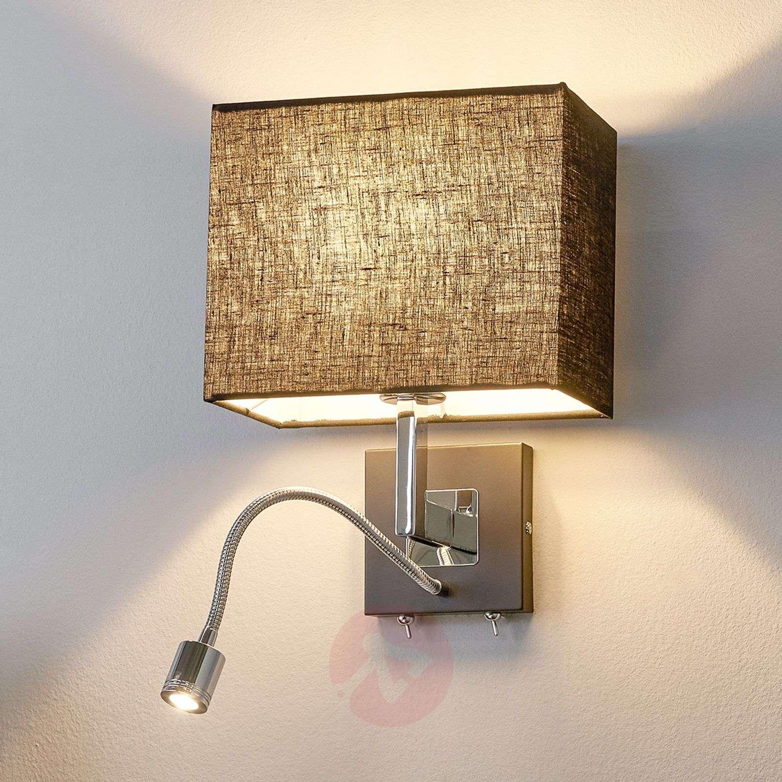 Musta seinävalaisin Rebekka LED-lukuvarrella-9976023-01