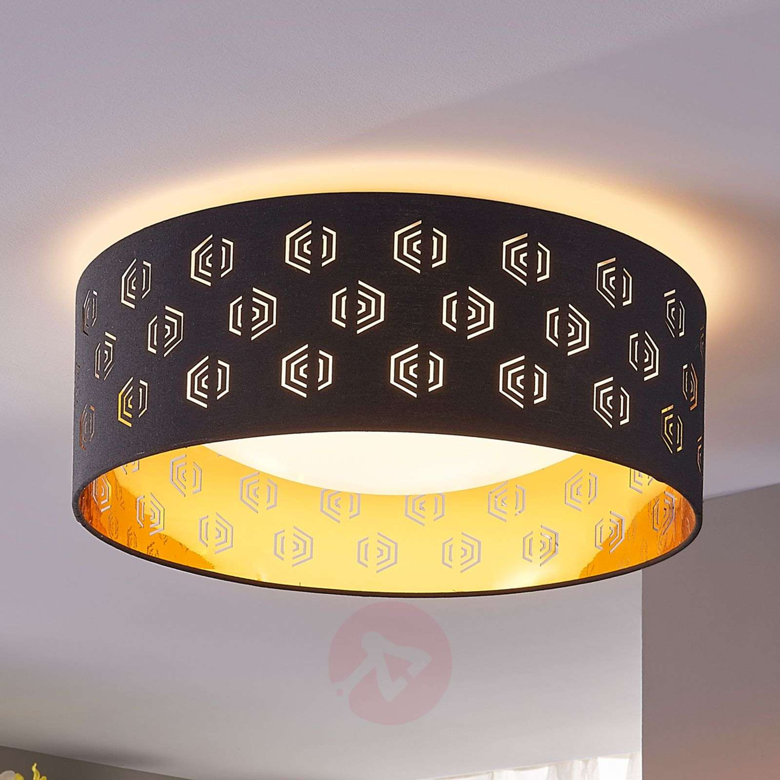 Mustakultainen LED-kattovalaisin Marsel, kangasta-9620941-02