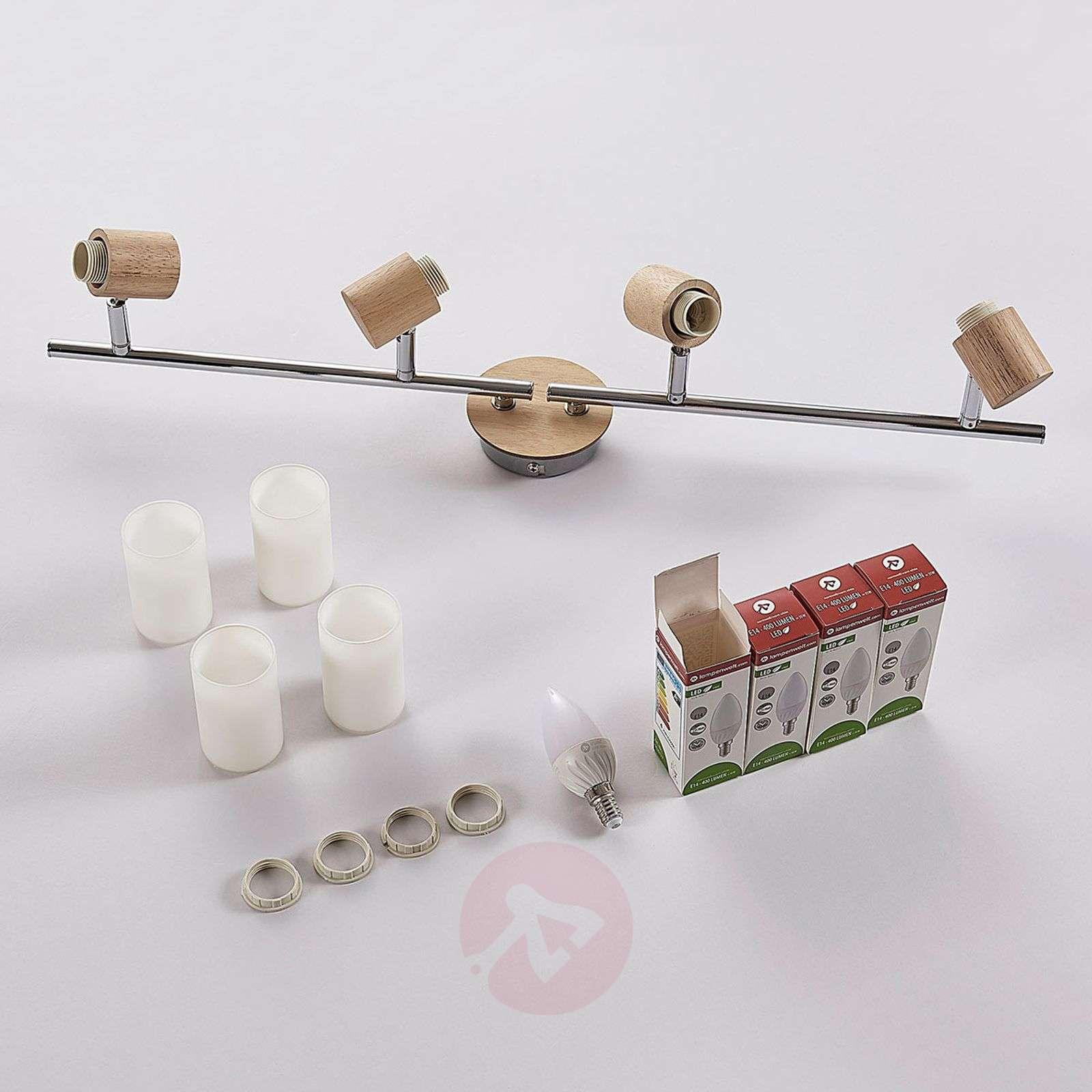 Nelilamppuinen LED-kattovalaisin Christoph, puuta-9621828-012