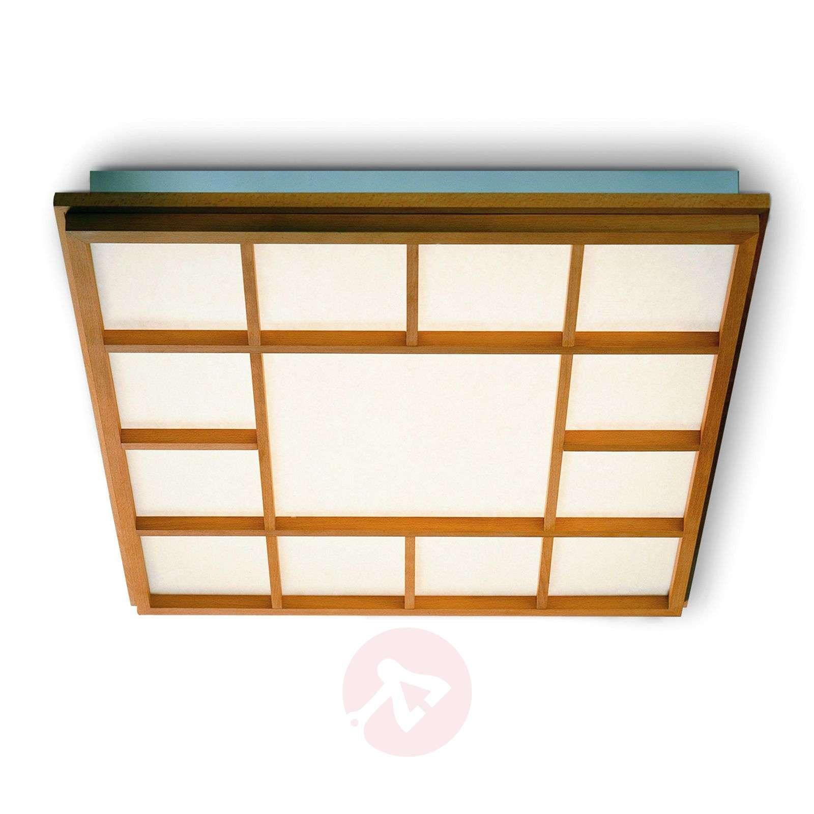 Neliön mallinen LED-kattolamppu Kioto 13, pyökki-2600511-01