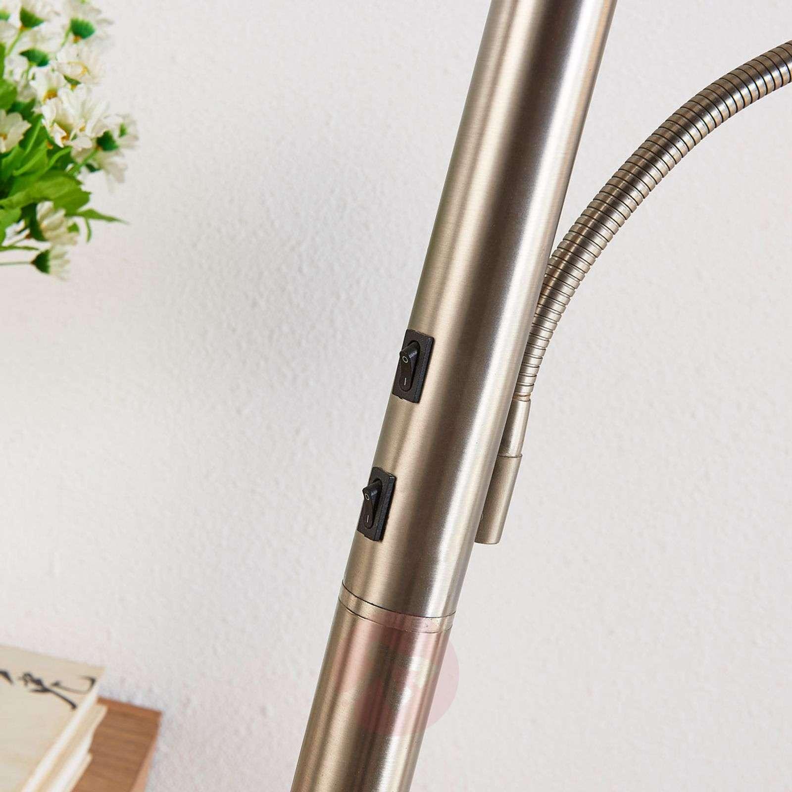 Nikkelinvärinen LED-lattiavalaisin Dunja, lukuvalo-9621223-02