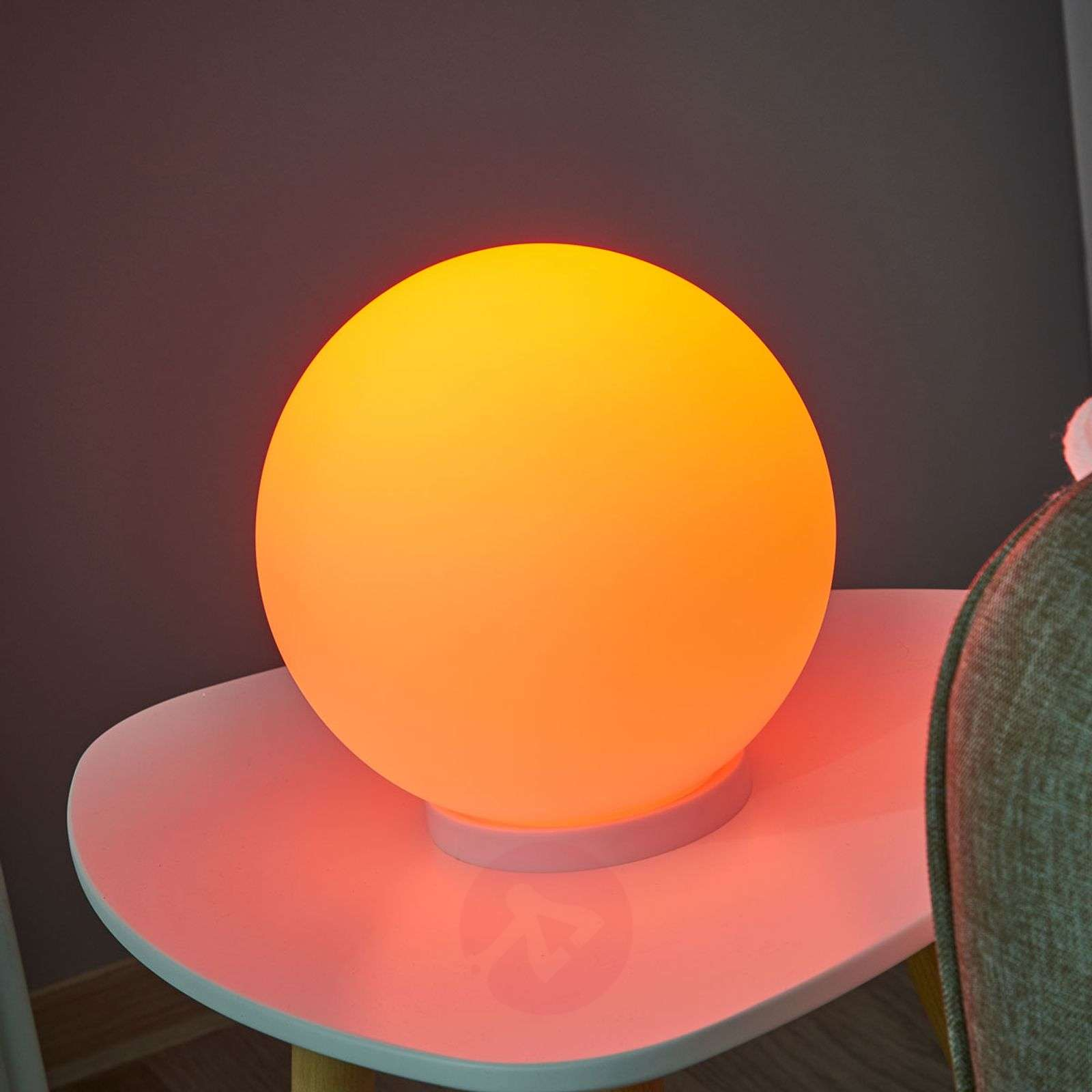 Pallonmuotoinen pöytävalaisin Rondo-C, LED RGBW-3031995-01