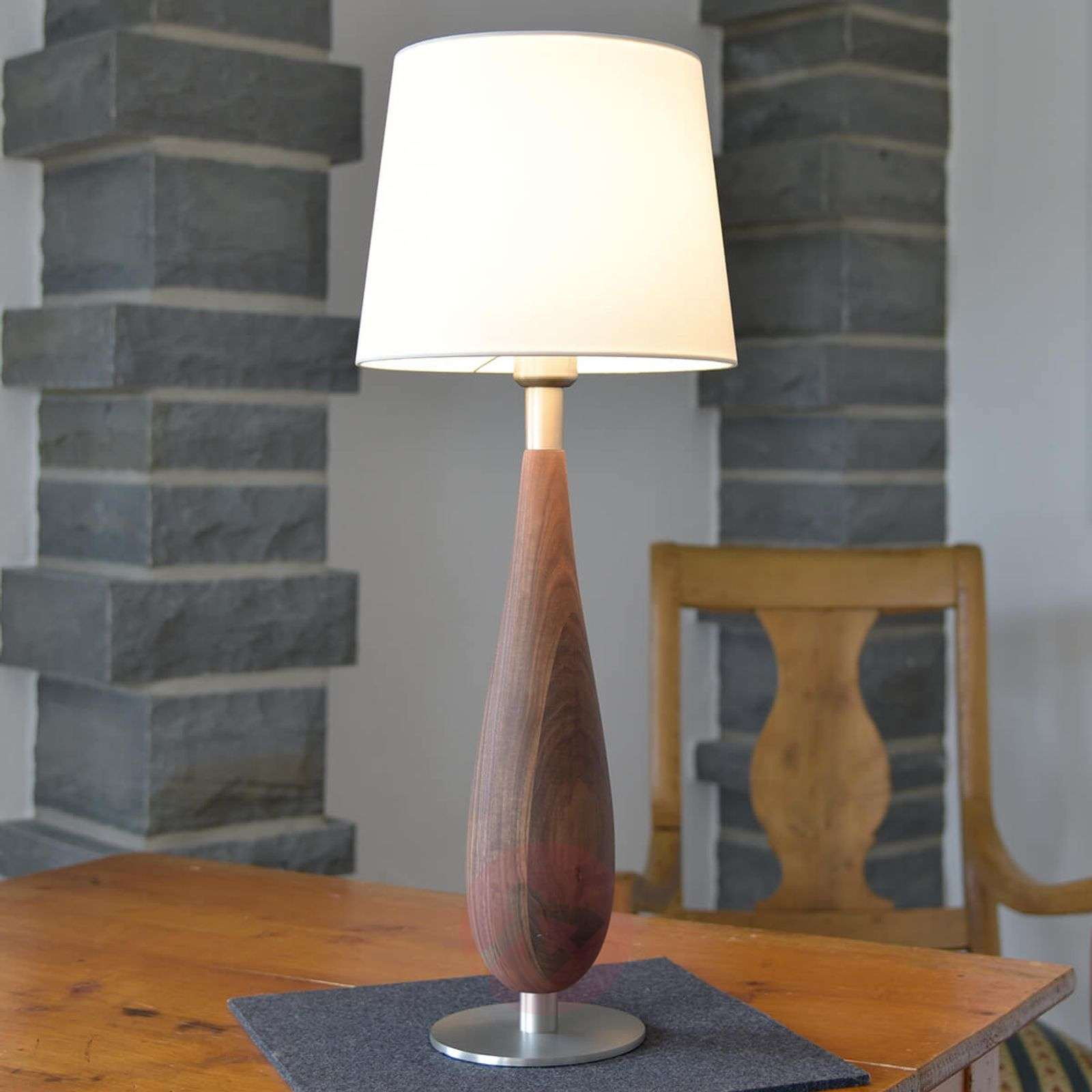 Pöytävalaisin Lara, puinen jalka tekstiilivarj. 61-4543031-01