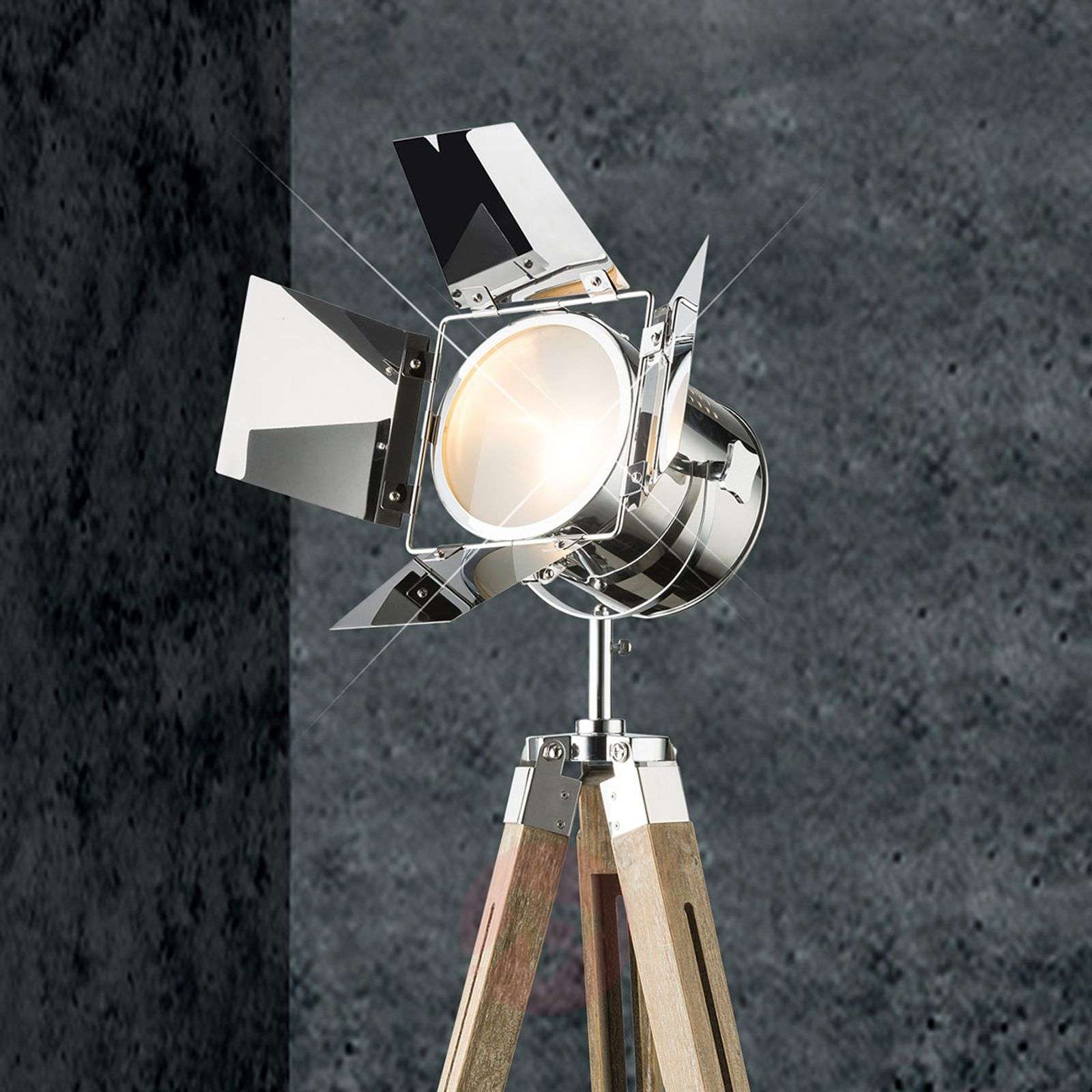 Puinen lattiavalaisin Evy, krominen valonheitin-4015060-01