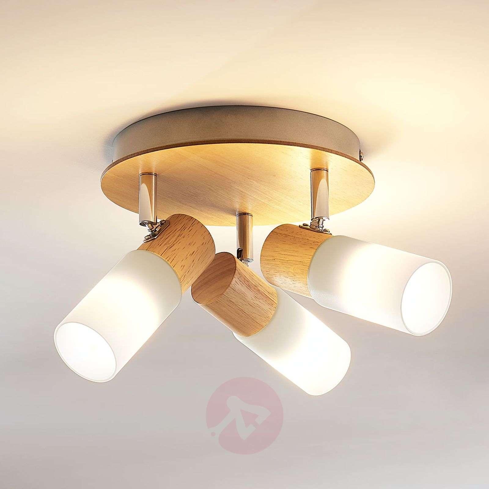 Puinen LED-kattokohdevalo Christoph, 3-lamppuinen-9621827-012