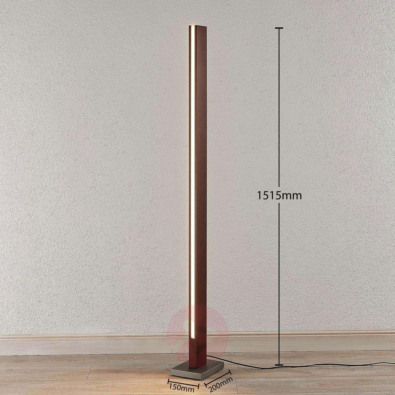 Puinen LED-lattiavalaisin Tamlin, tummanruskea-9624503-01