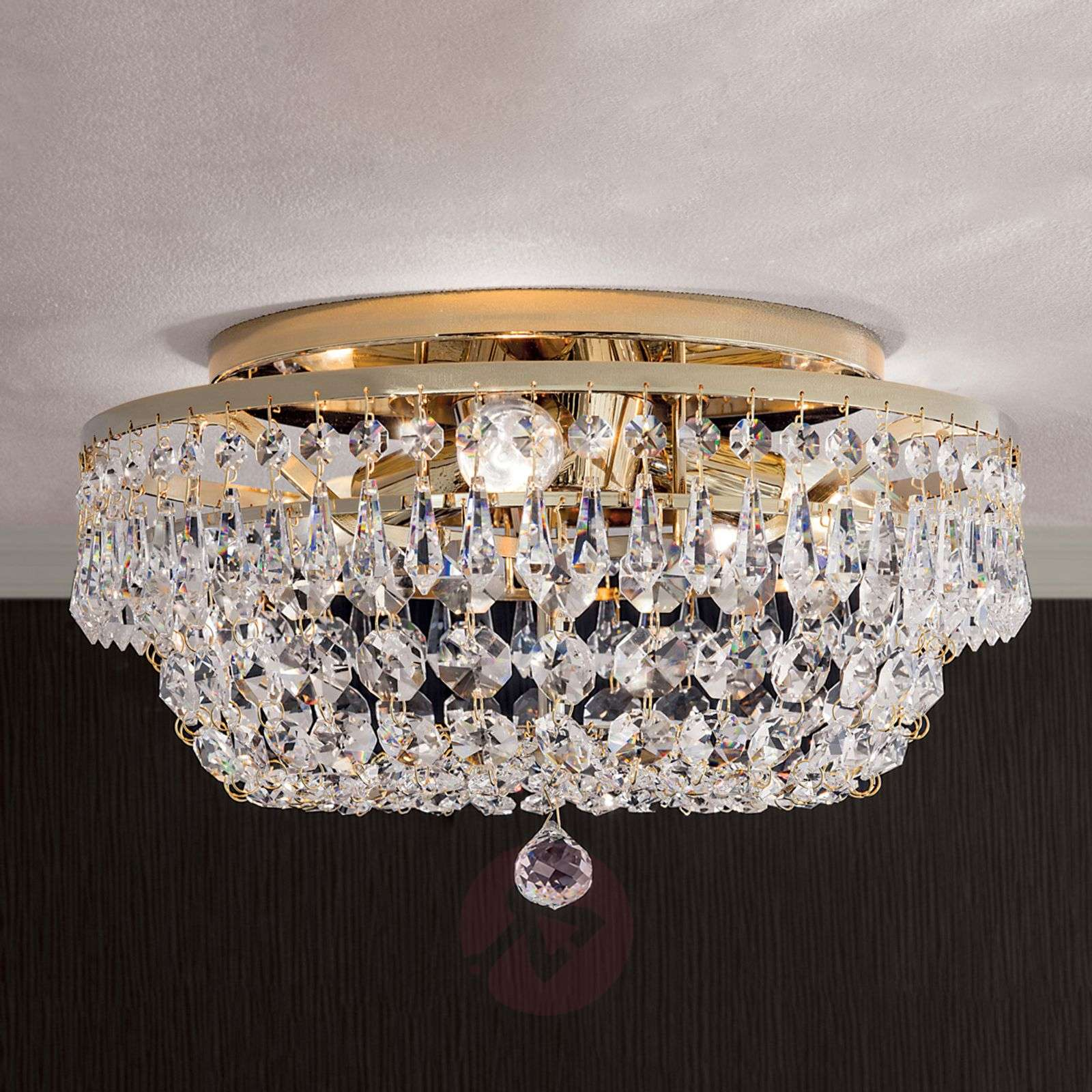 Pyöreä kristallikattokruunu SHERATA, kulta 35cm-7254126-01