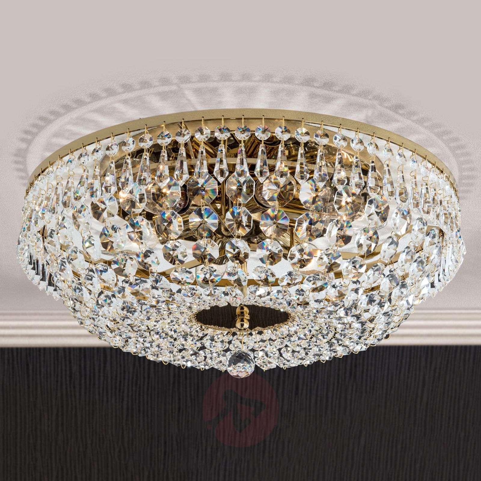 Pyöreä kristallikattokruunu SHERATA, kulta 45cm-7254127-01