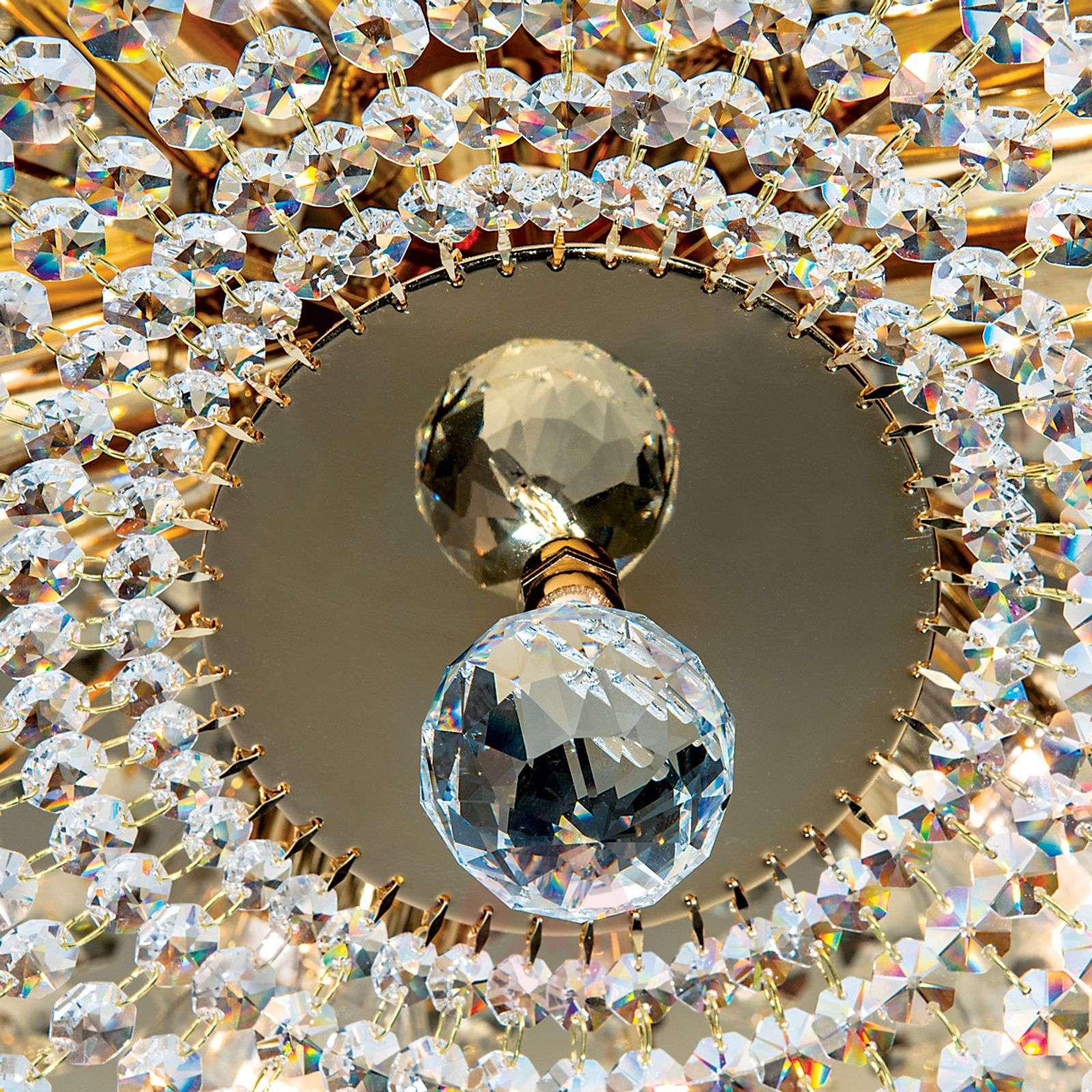 Pyöreä kristallikattokruunu SHERATA, kulta 55cm-7254125-01