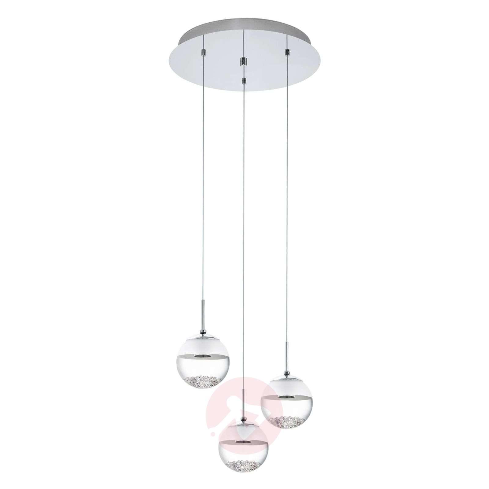Pyöreä LED-riippuvalaisin Montefio, kristalli, 3-l